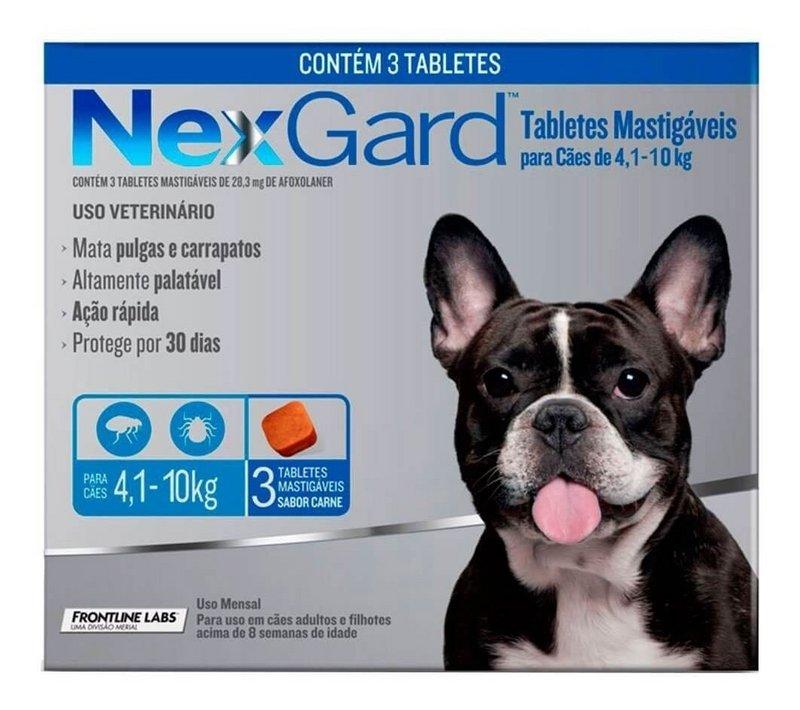 Nexgard Antipulgas e carrapatos Cães 4kg - 10kg - 3 Comprimidos