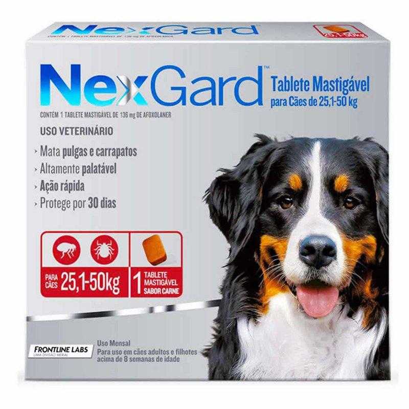 Nexgard - Antipulgas E Carrapatos Cães 25 - 50kg 3 Comprimidos