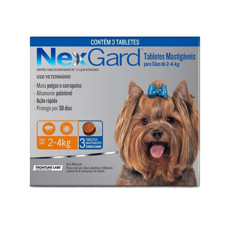 Nexgard Antipulgas E Carrapatos 2kg - 4kg  3 Comprimidos