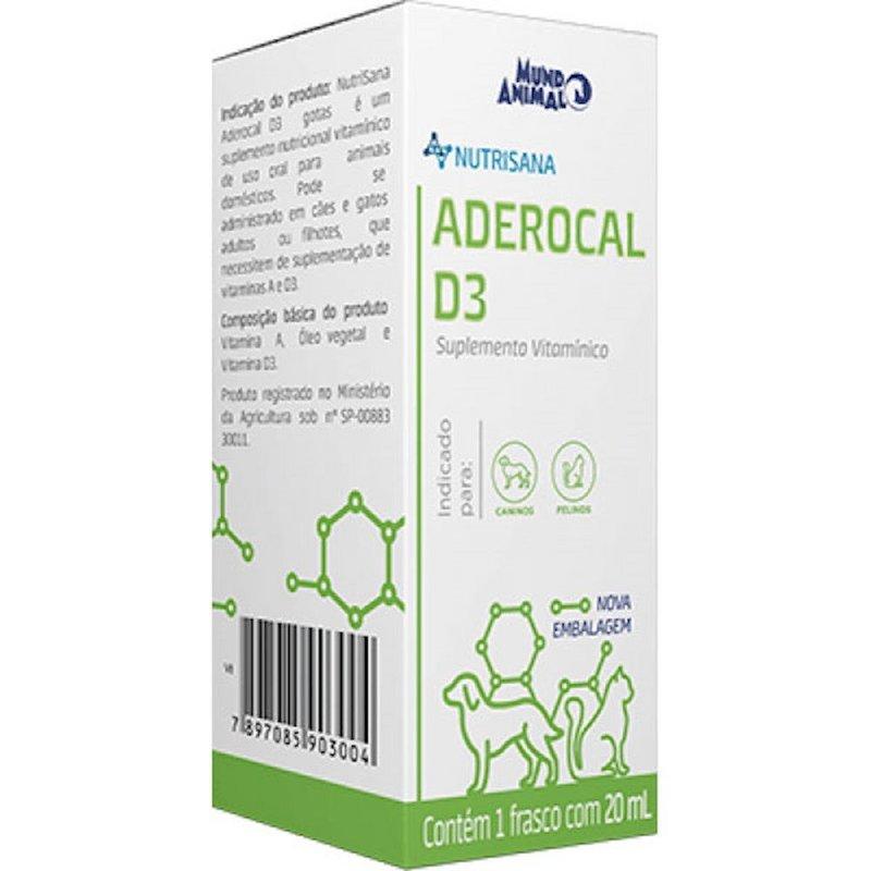 Nutrisana Aderocal D3 Suplemento Cães E Gatos 20 Ml