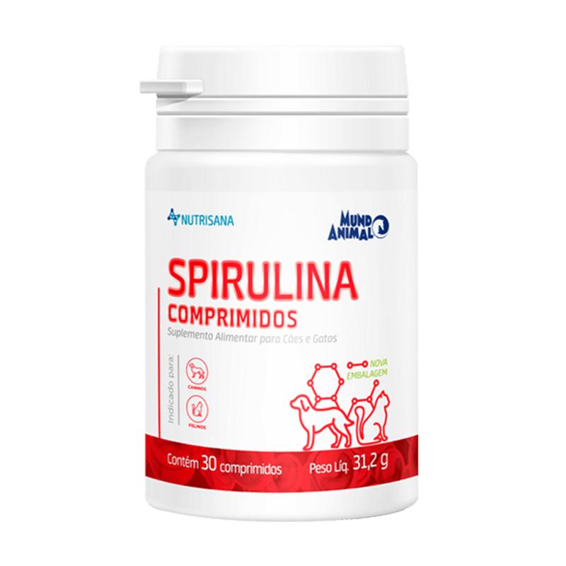 Nutrisana Spirulina Suplemento Cães E Gatos 30 Comprimidos