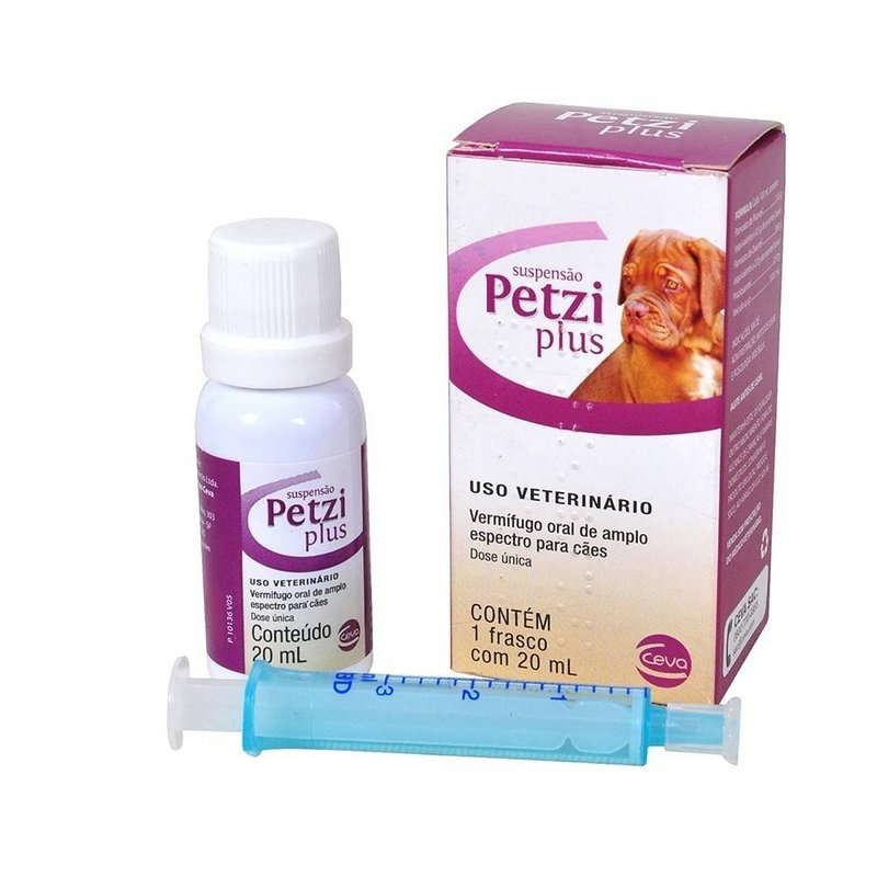 Petzi Plus Suspensão 20ml Vermífugo Cães - Ceva