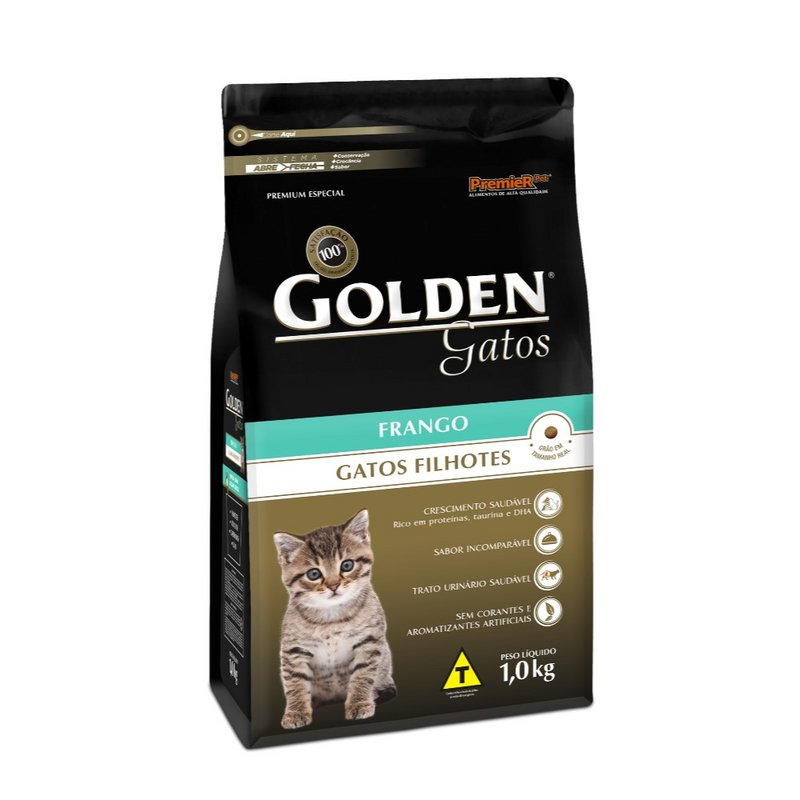 Ração Golden Premium Gatos Filhotes Sabor Frango - 10,1kg