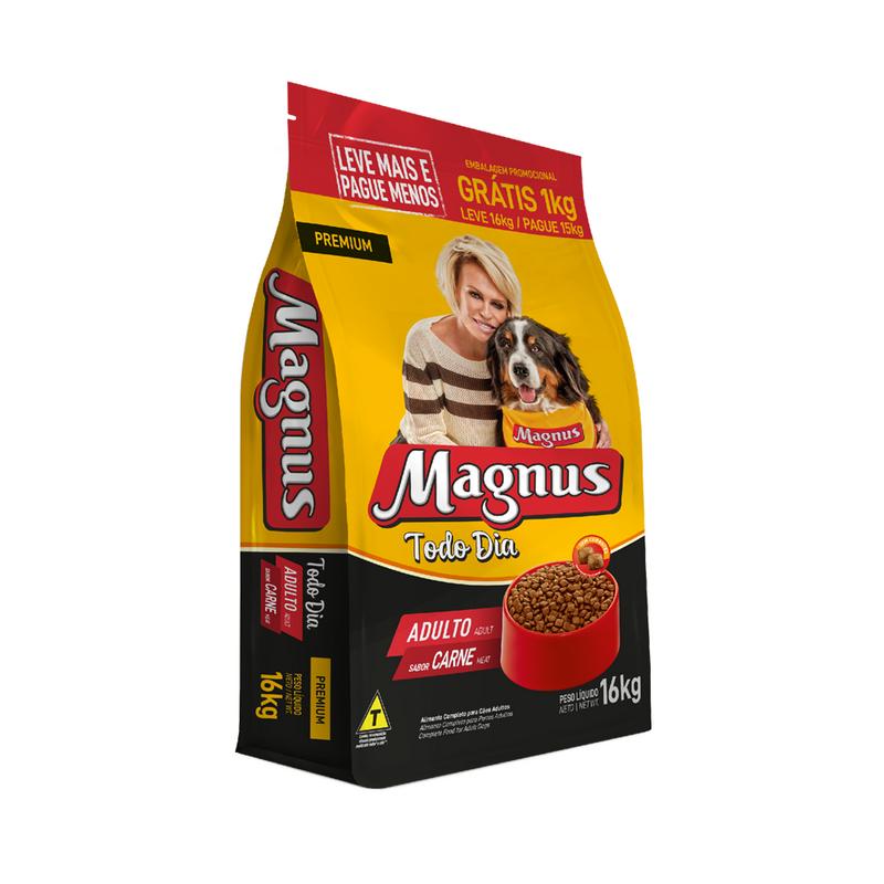 Ração Magnus Premium Adulto Todo Dia Carne 16kg