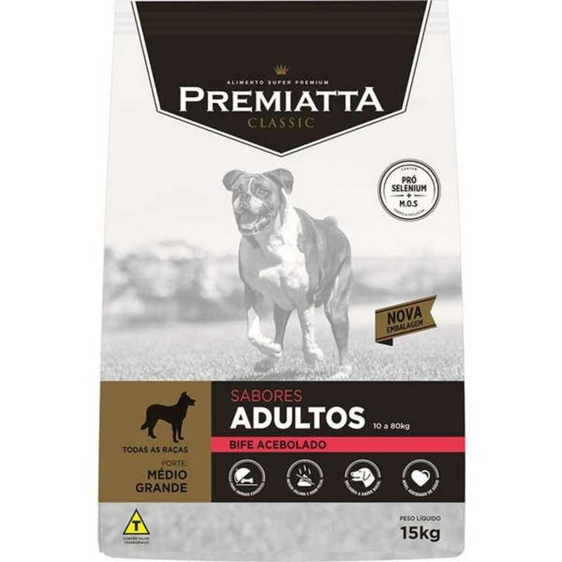 Ração Premiatta Bife Acebolado Mini Bits Cães Adultos - 15kg