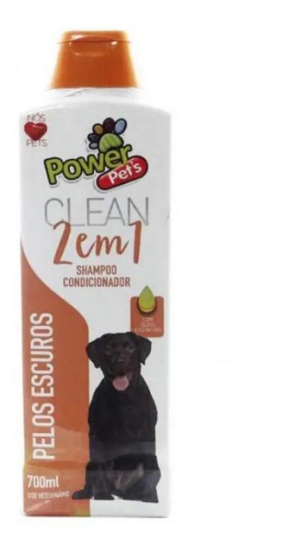 Shampoo Para Cães 2 Em 1 Pelos Escuros Power Pets - 700ml