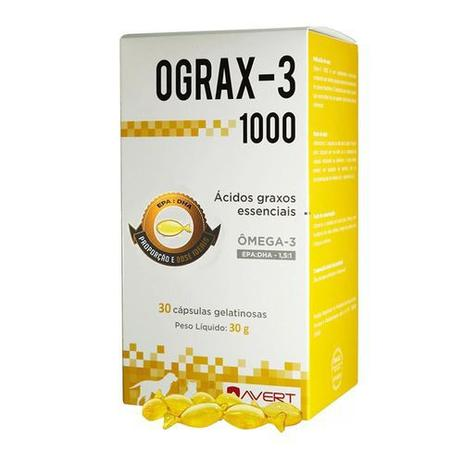Suplemento Para Cães Gatos Avert Ograx-3 1000 30 Cápsulas
