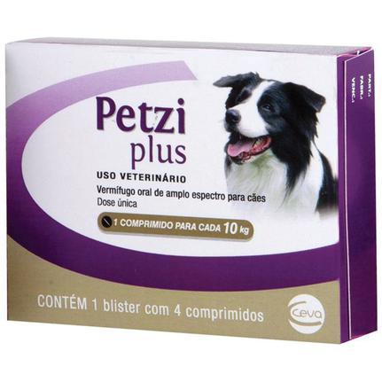 Vermifugo Petzi Plus Cães Até 10kg - 4 Comprimidos 800mg