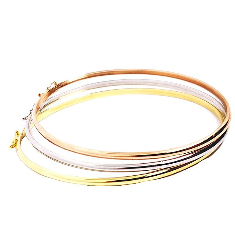 3 Braceletes Ovais em Ouro 18 Kilates Branco, Amarelo e Rosê