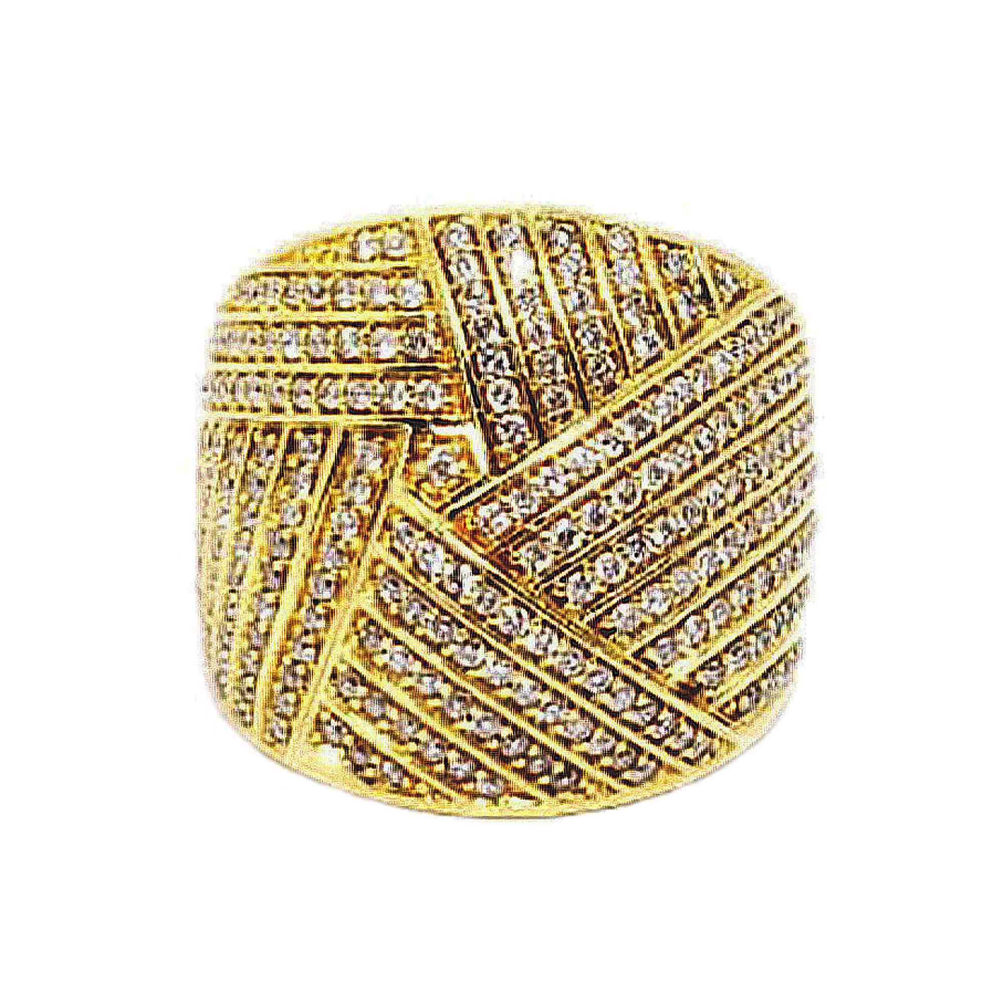Anel Abaulado c/ Listras e Diamantes em Ouro 18 Kilates