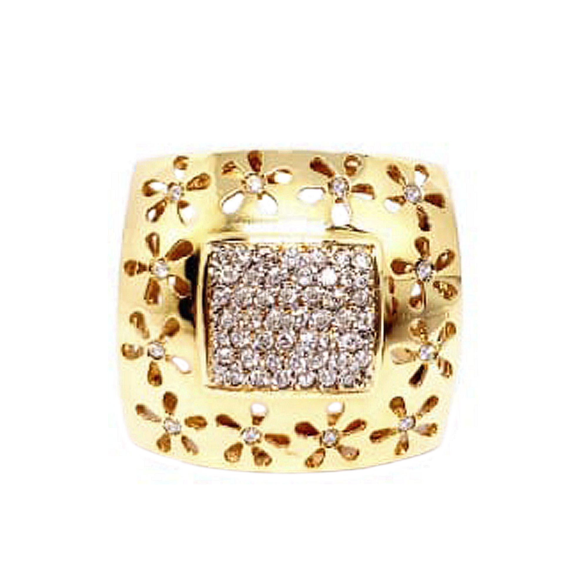 Anel Bordado em Flor c/ Diamantes em Ouro 18 Kilates