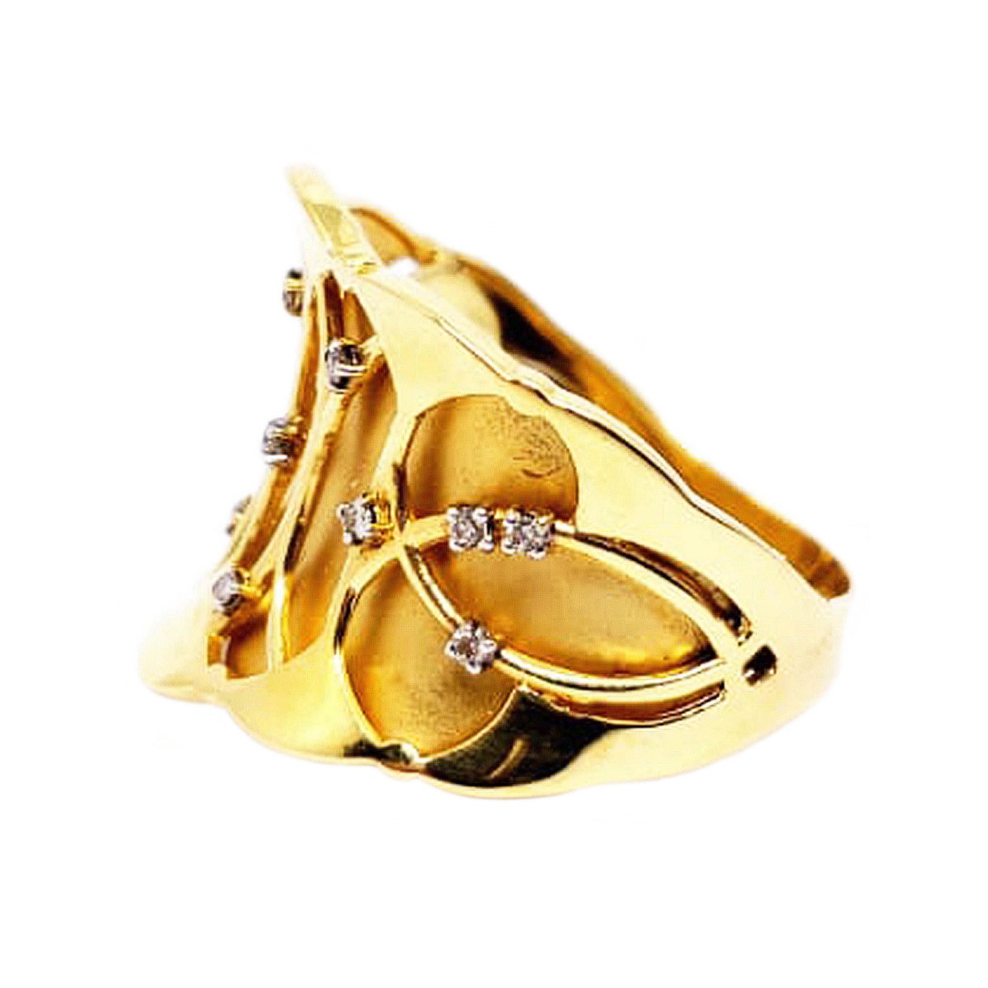 Anel c/ Diamantes e Forro Fosco em Ouro 18 Kilates