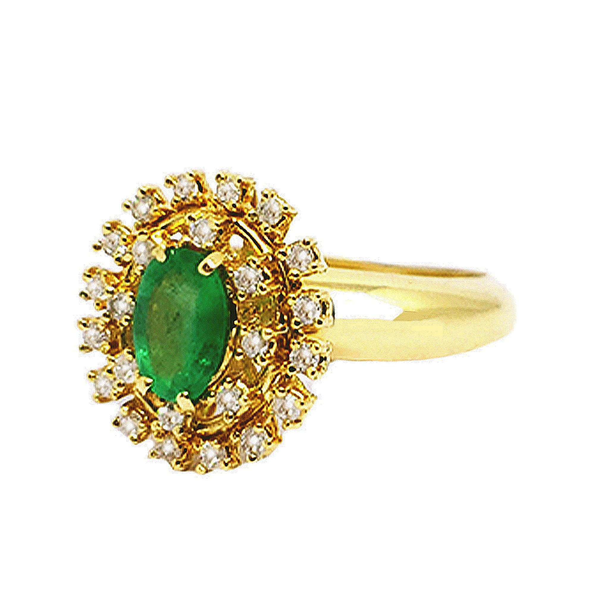 Anel Chuveiro c/ Esmeraldas e Diamantes em Ouro 18 Kilates
