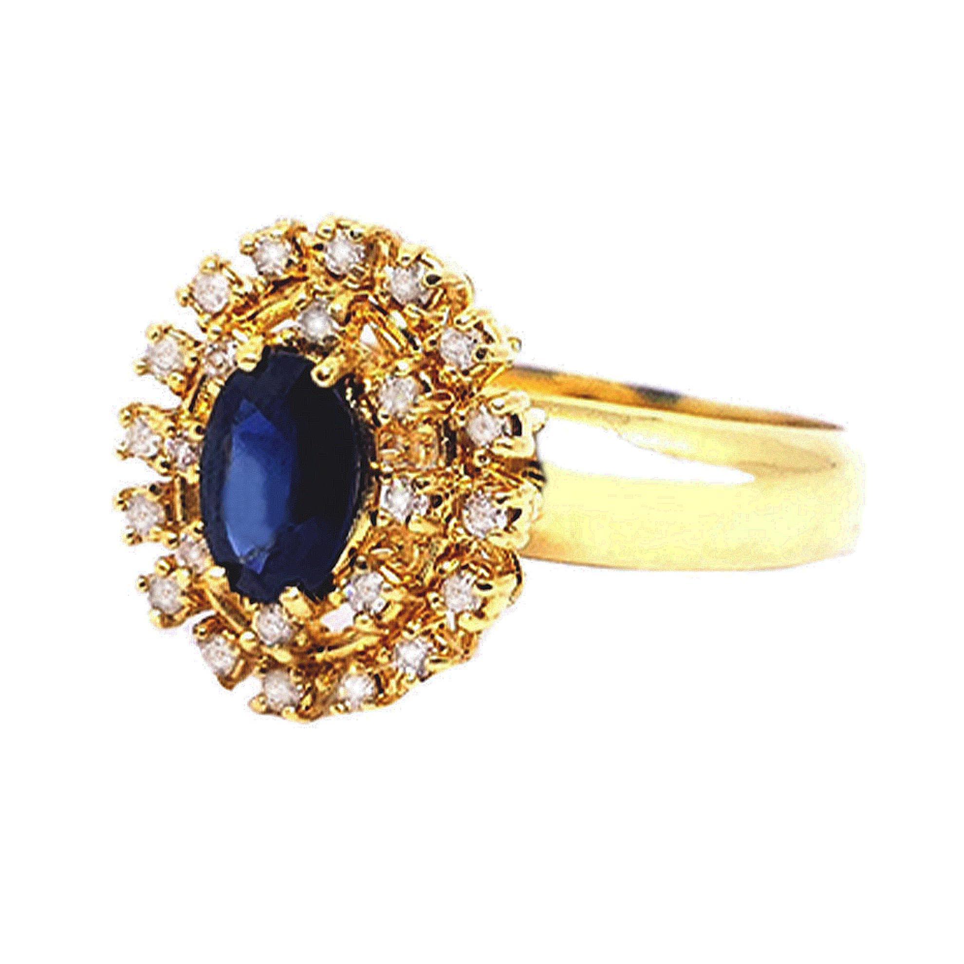 Anel Chuveiro c/ Safira e Diamantes em Ouro 18 Kilates