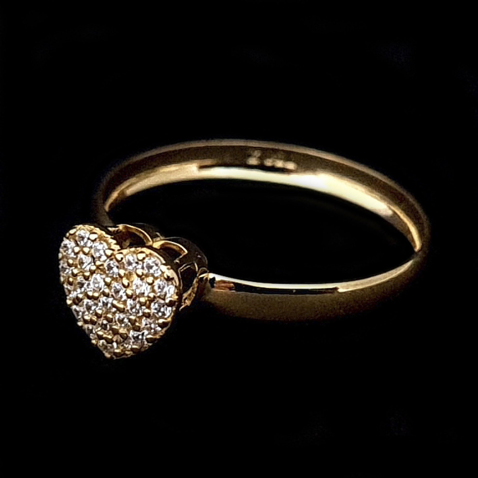 Anel Chuveiro Coração c/ Zircônias em Ouro 18 Kilates