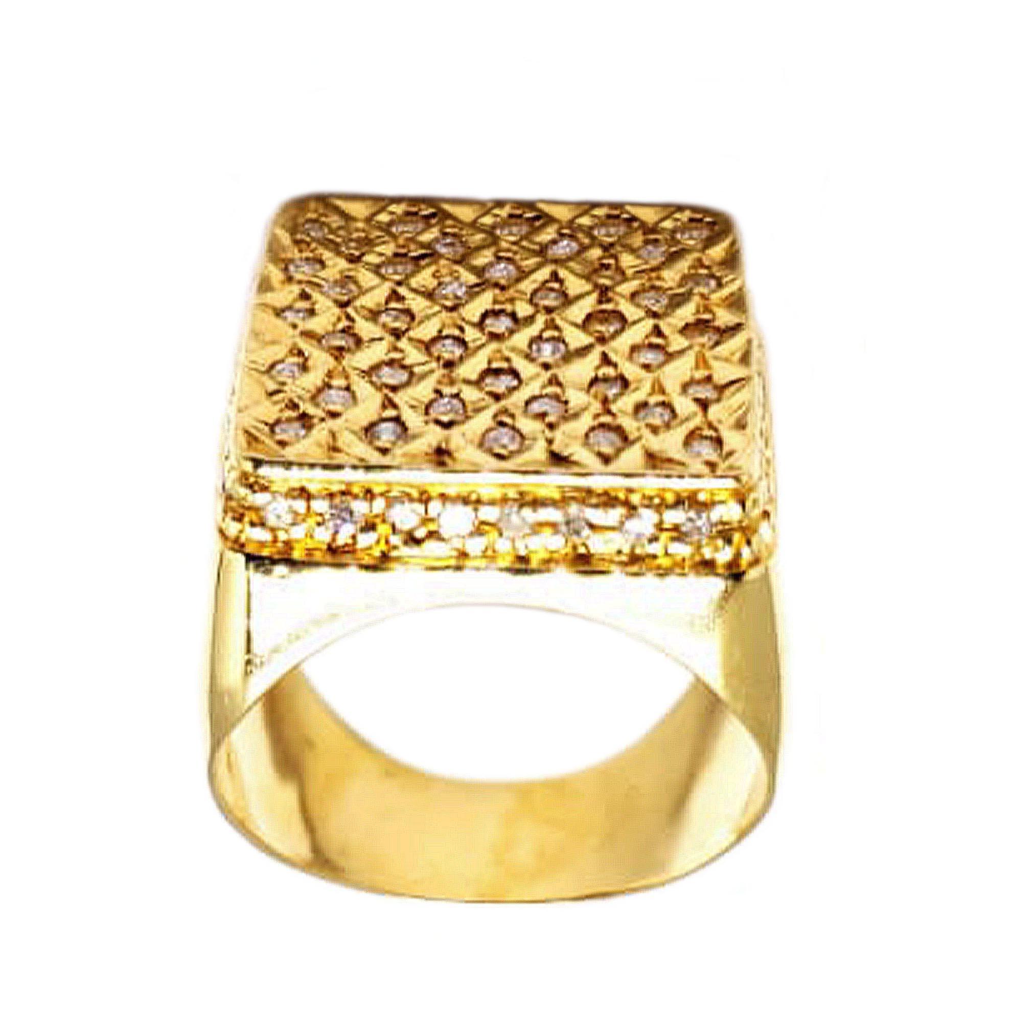 Anel Colméia c/ Diamantes em Ouro 18 Kilates