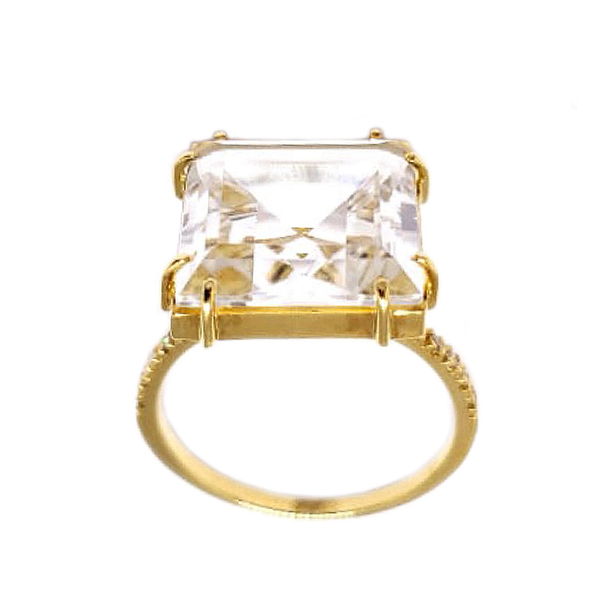 Anel Cristal Quadrado c/ Diamantes em Ouro 18 Kilates
