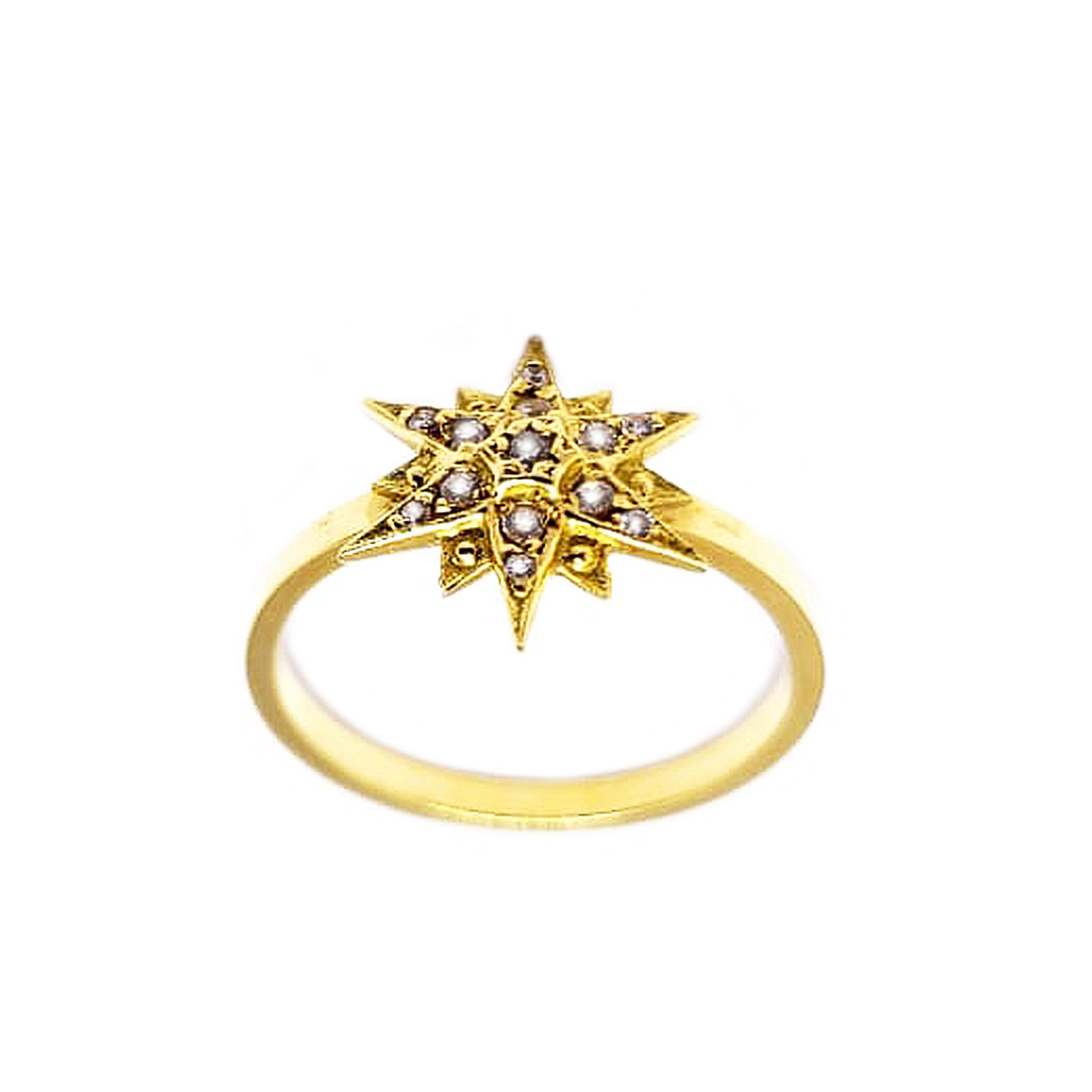 Anel Estrela c/ Zircônias em Ouro 18 Kilates