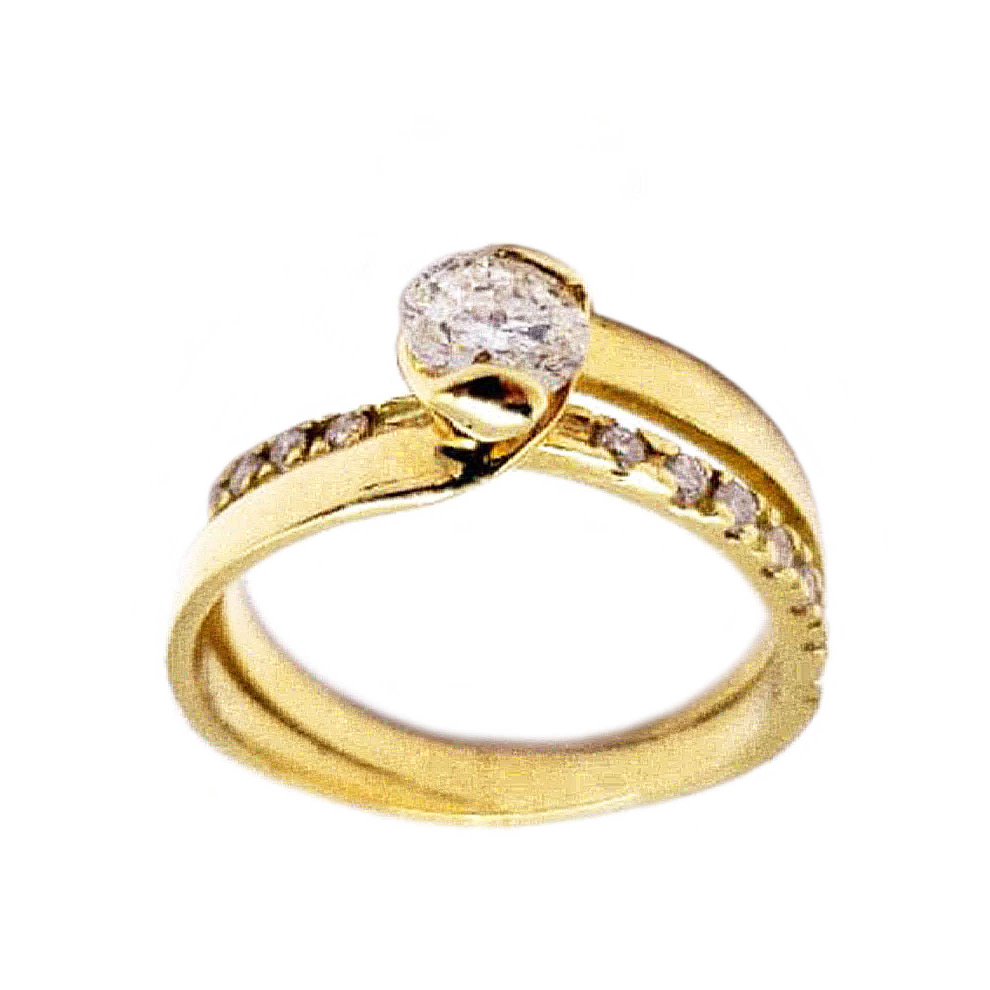Anel Garra Torcida c/ Diamantes em Ouro 18 Kilates