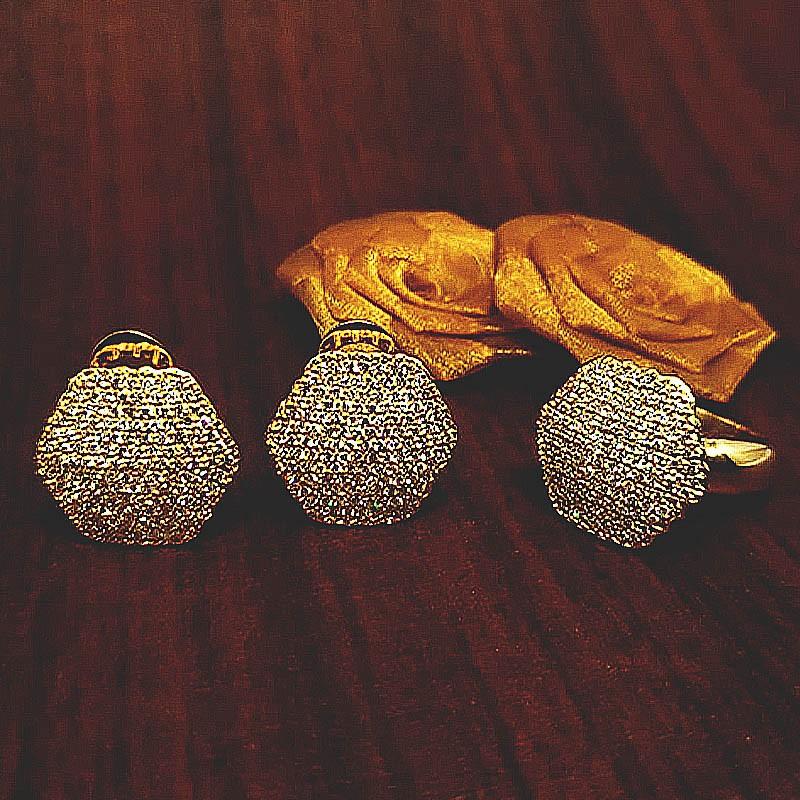 Anel Hexágono c/ Diamantes em Ouro 18 Kilates
