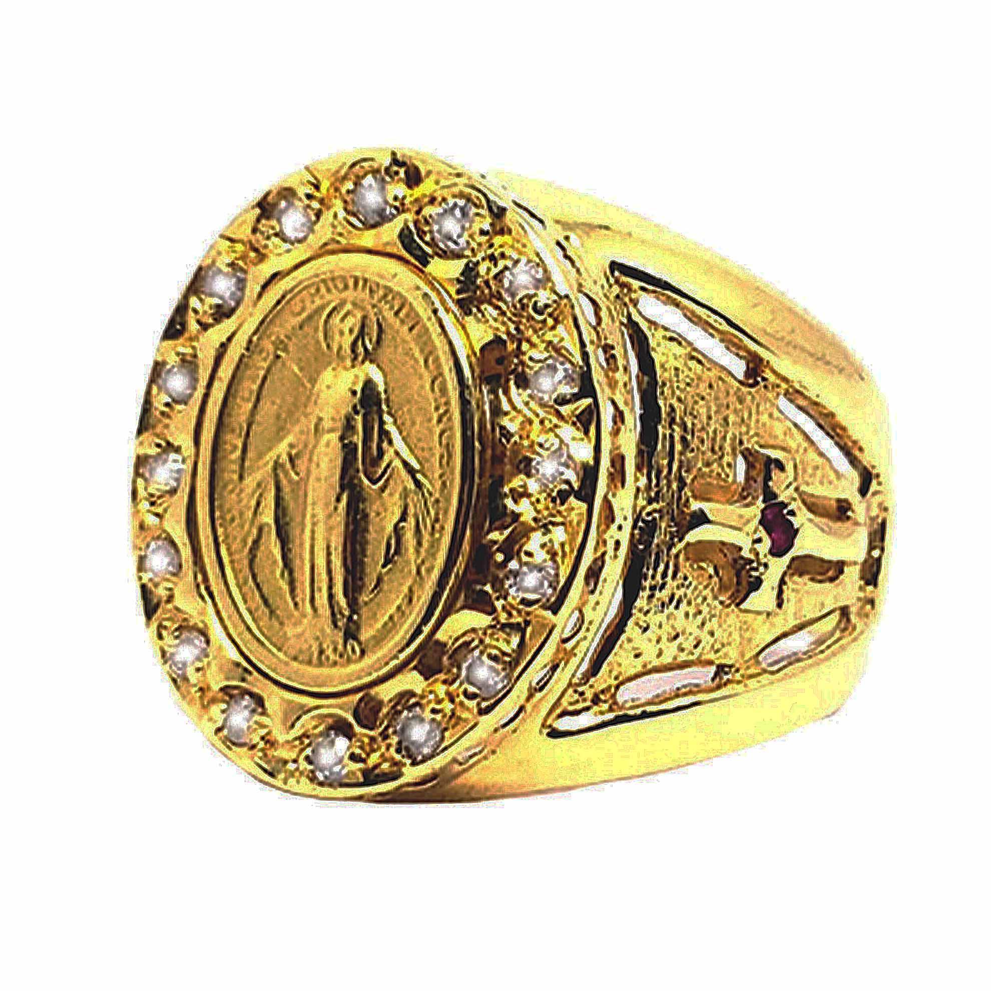 Anel Nossa Senhora c/ Diamantes em Ouro 18 Kilates