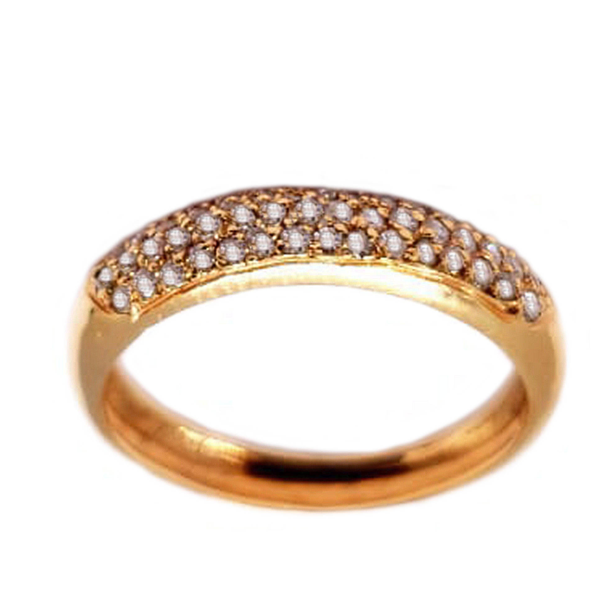 Anel Pavê Rosê Abaulado c/ Diamantes em ouro 18 Kilates