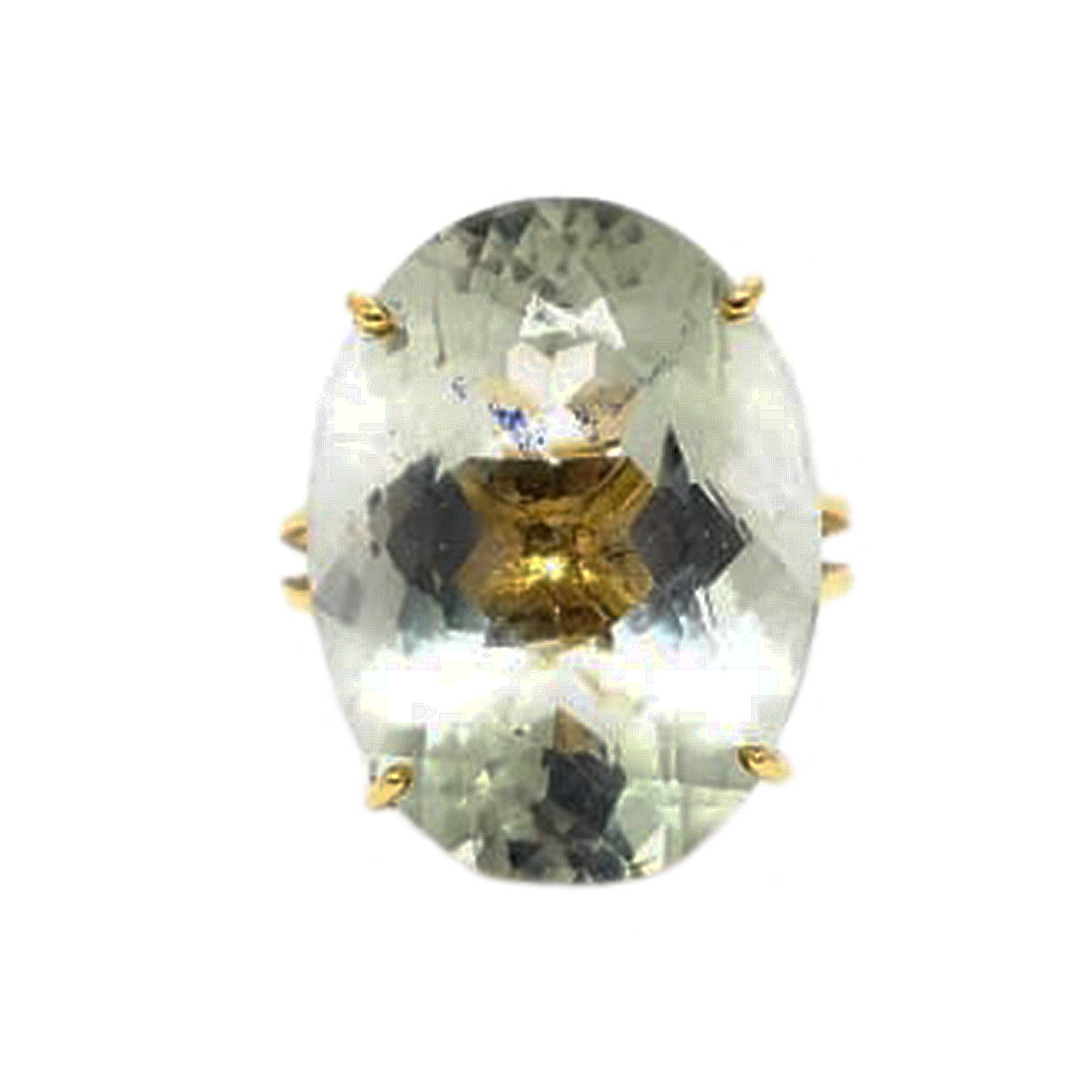 Anel Prazeolita Oval em Ouro 18 Kilates