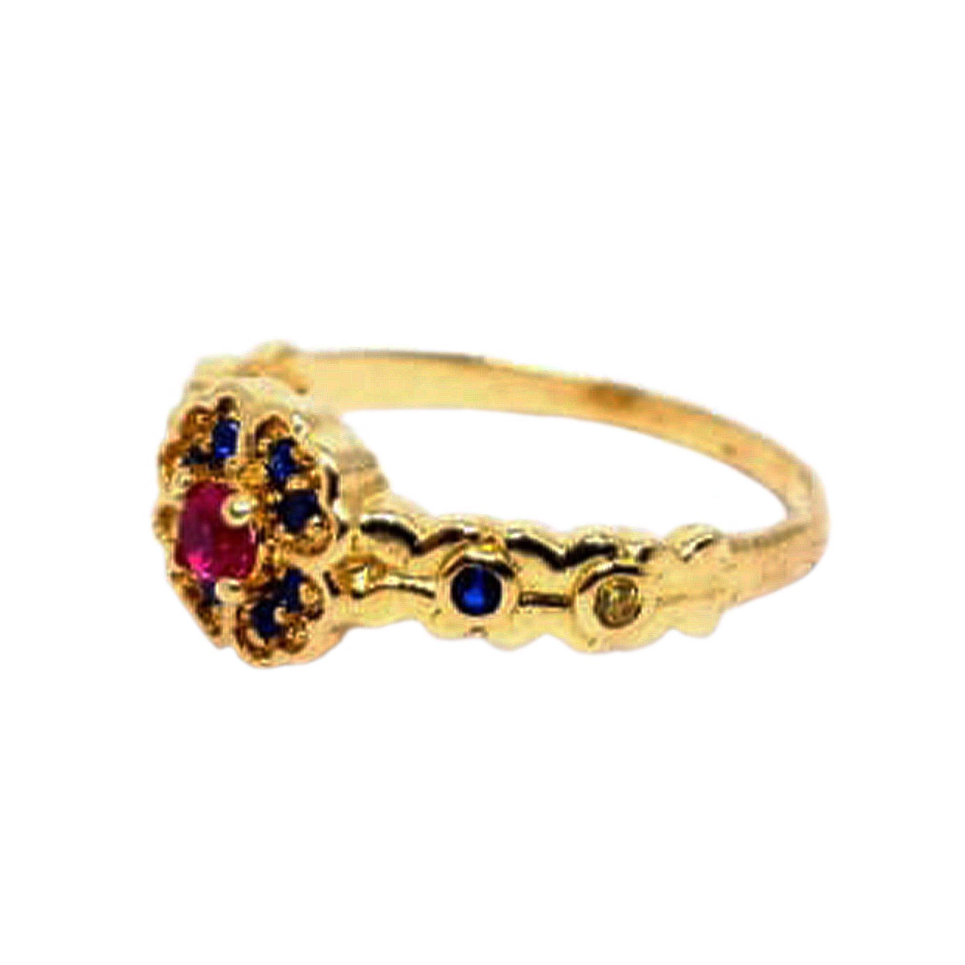 Anel Princesa Branca de Neve c/ Zircônias Vermelha e Colorida em Ouro 18 Kilates
