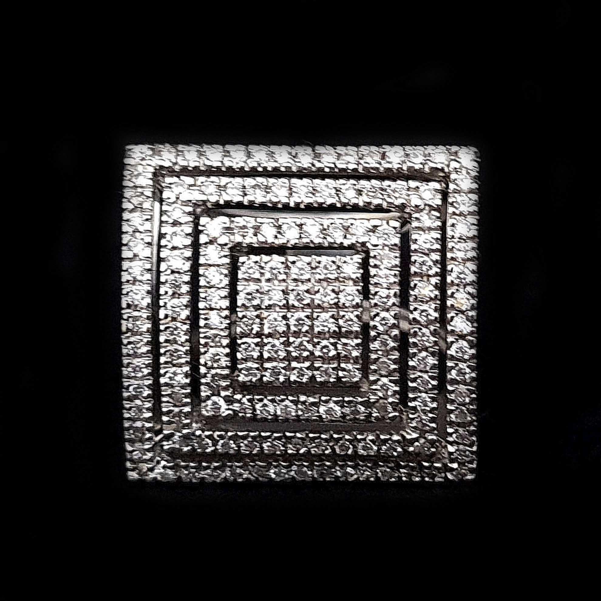 Anel Quadrado c/ Diamantes em Ouro Branco 18 Kilates