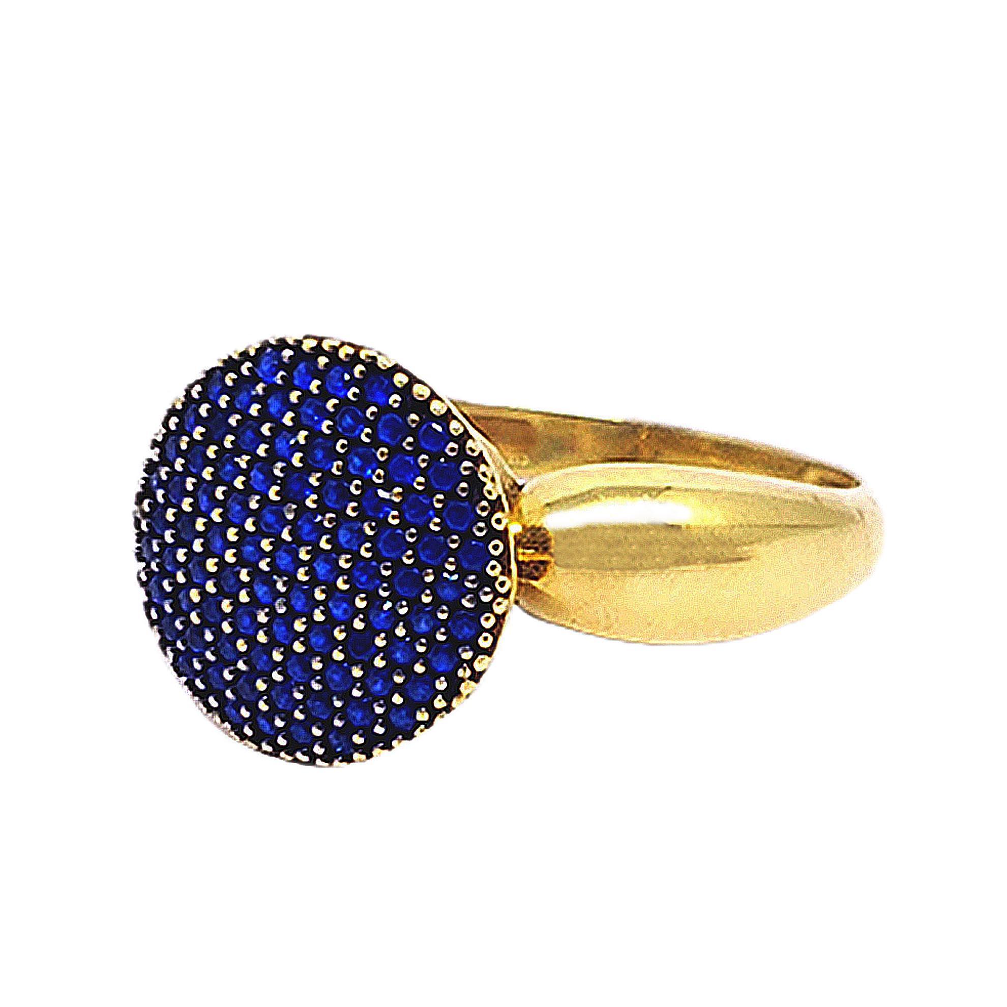Anel Redondo c/ Zircônias Azuis em Ouro 18 Kilates