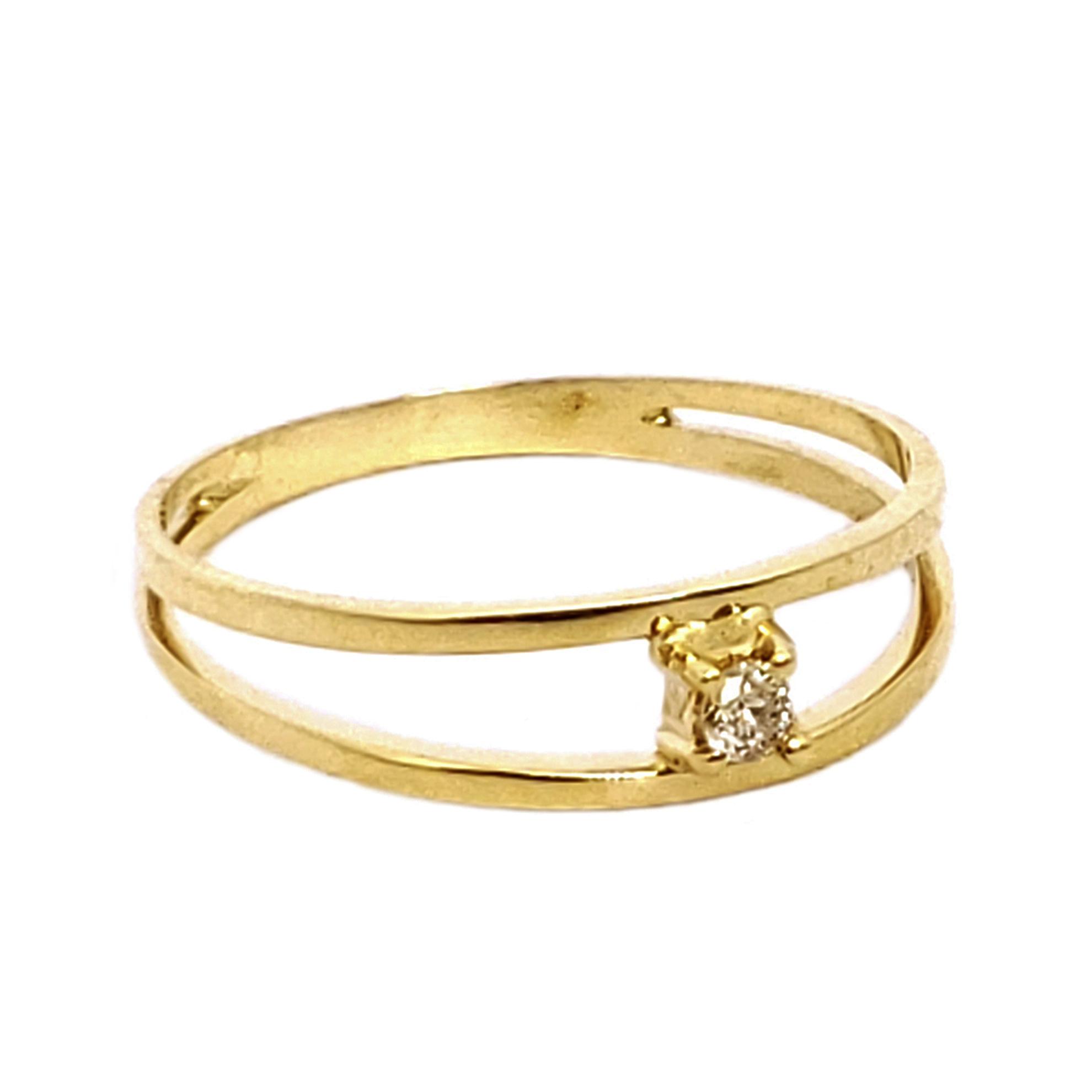 Anel Solitário Aro Duplo c/ Diamante em Ouro 18 Kilates