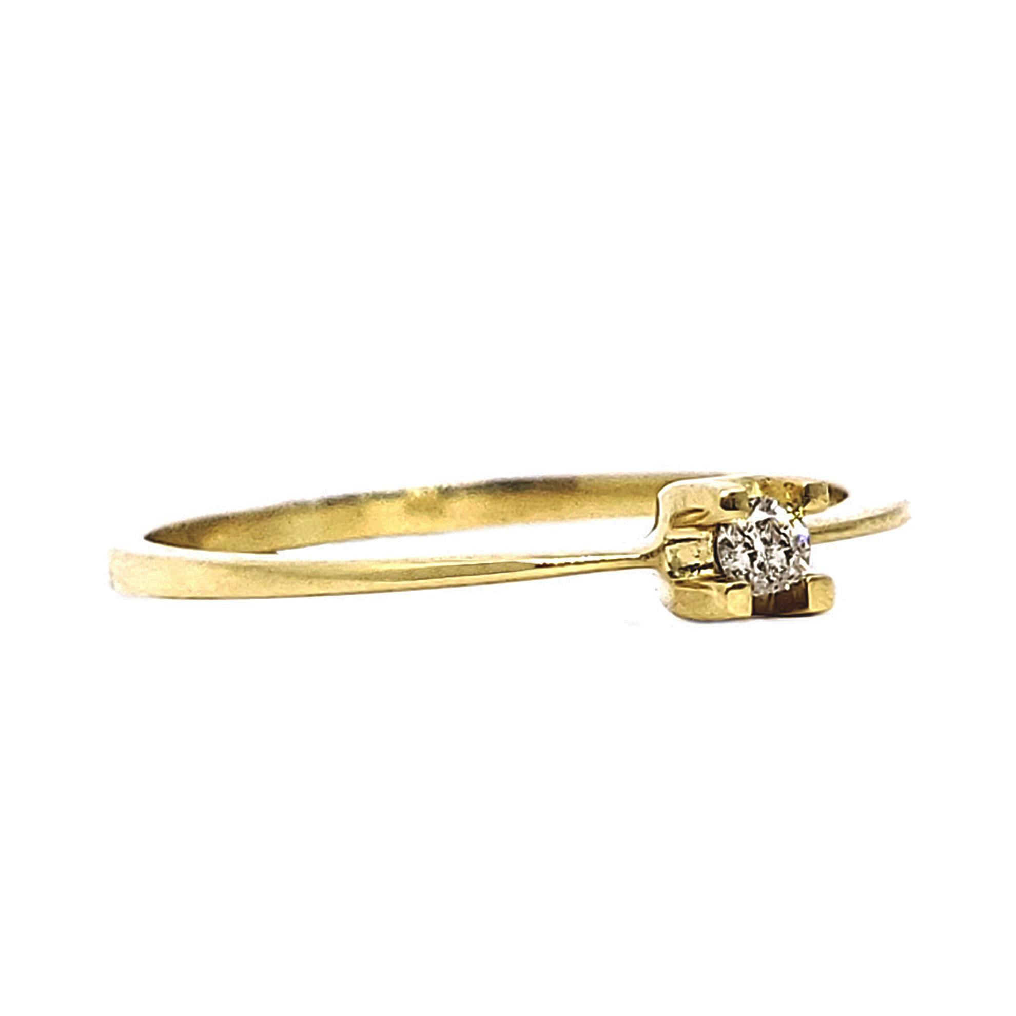 Anel Solitário c/ Diamante em Ouro 18 Kilates