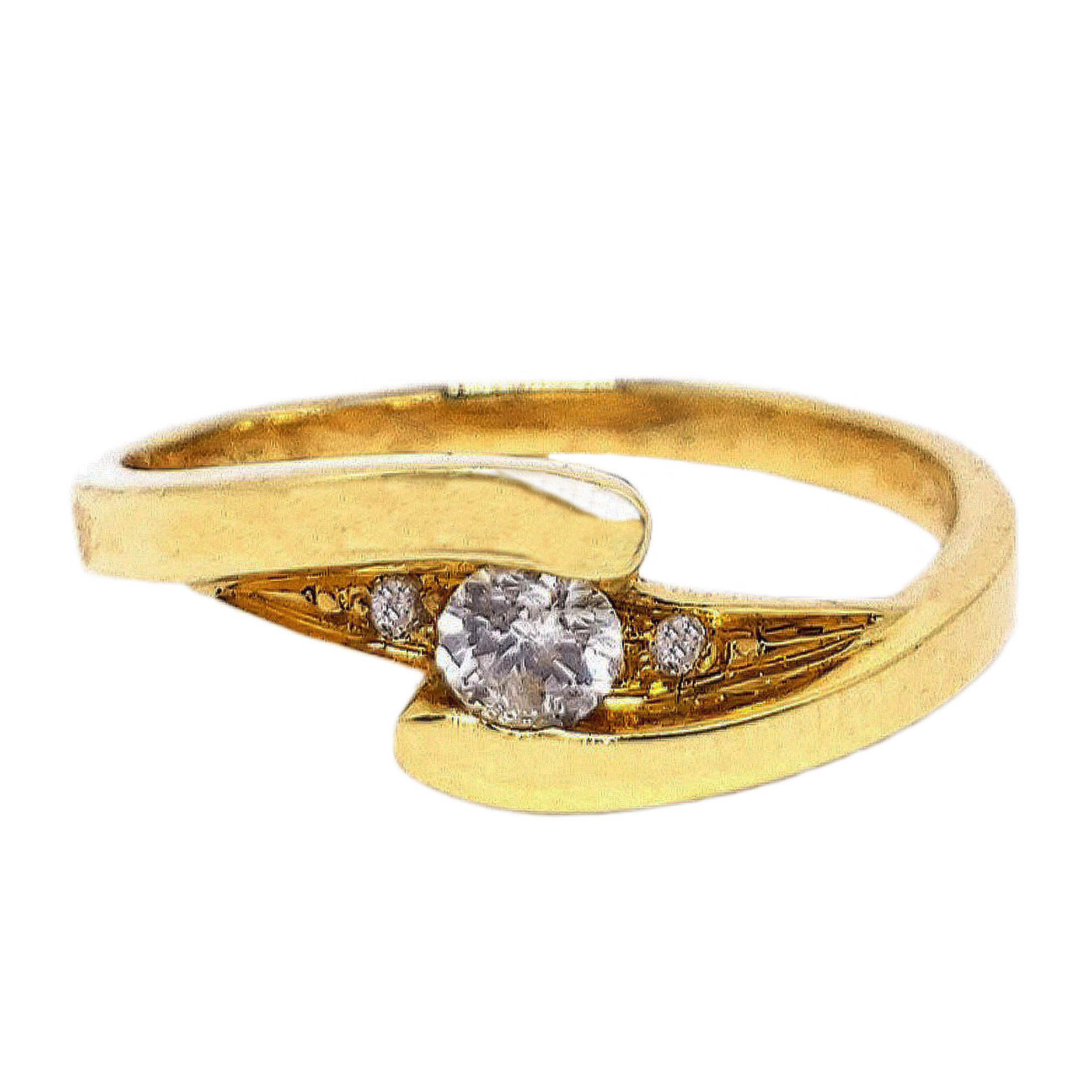 Anel Solitário c/ Diamantes em Ouro 18 Kilates