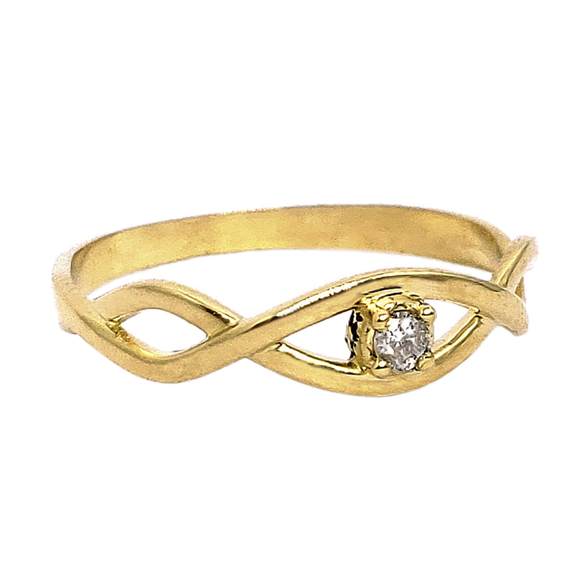 Anel Solitário Trançado c/ Diamante em Ouro 18 Kilates