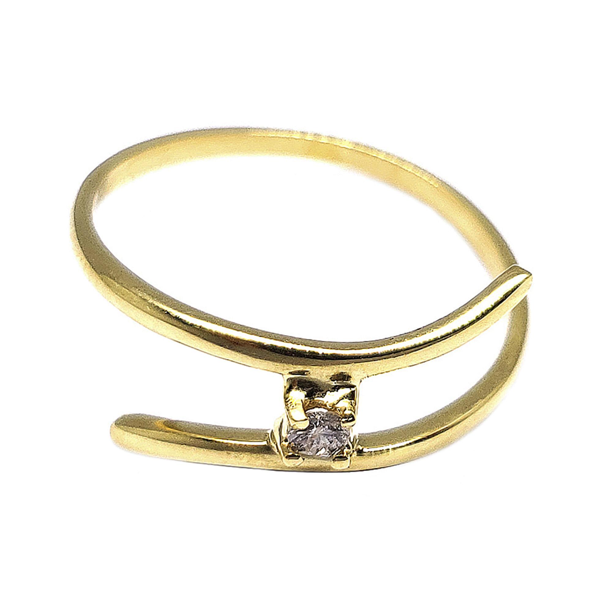 Anel Solitário Trespassado c/ Diamante em Ouro 18 Kilates