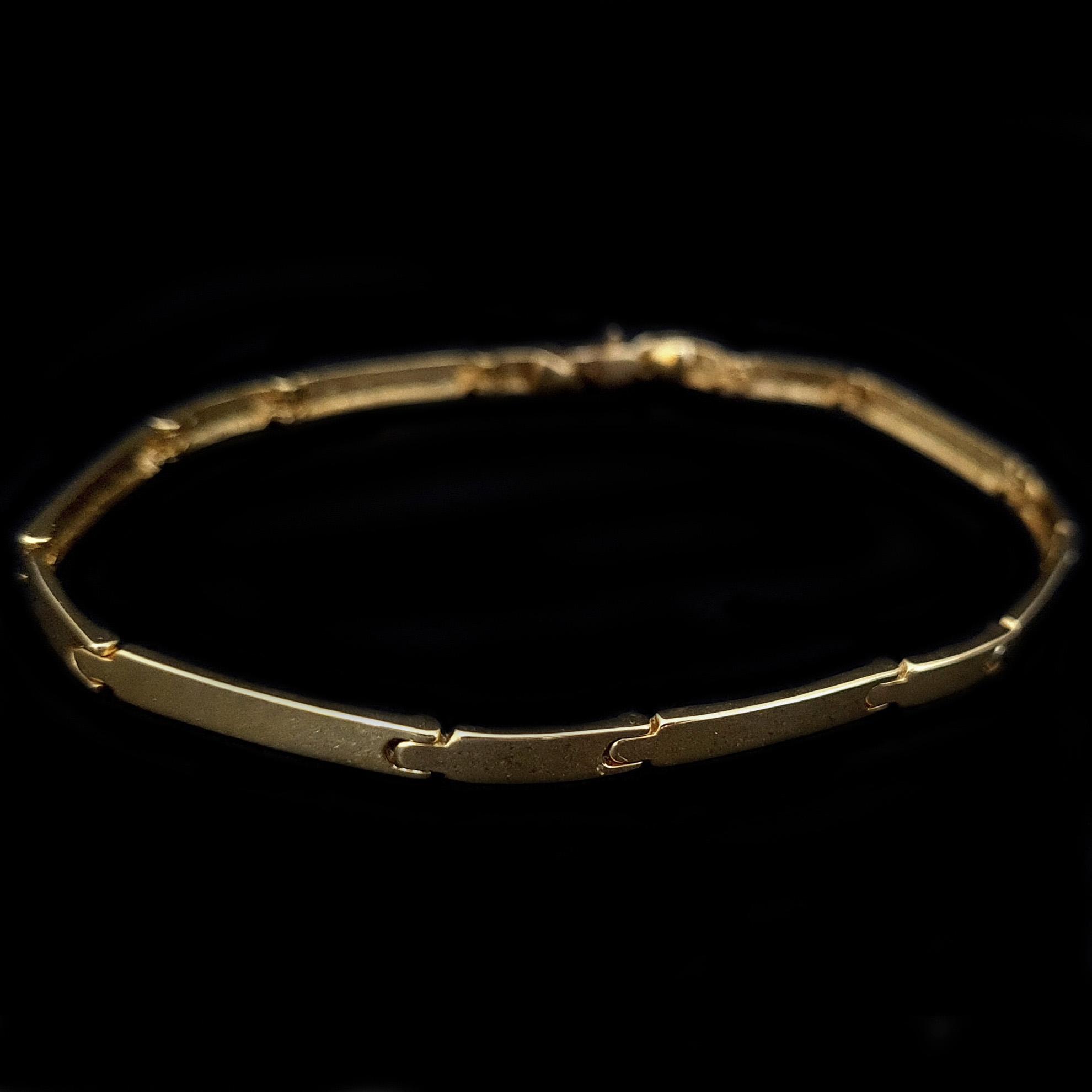 Bracelete Chapas Fino em Ouro 18 Kilates
