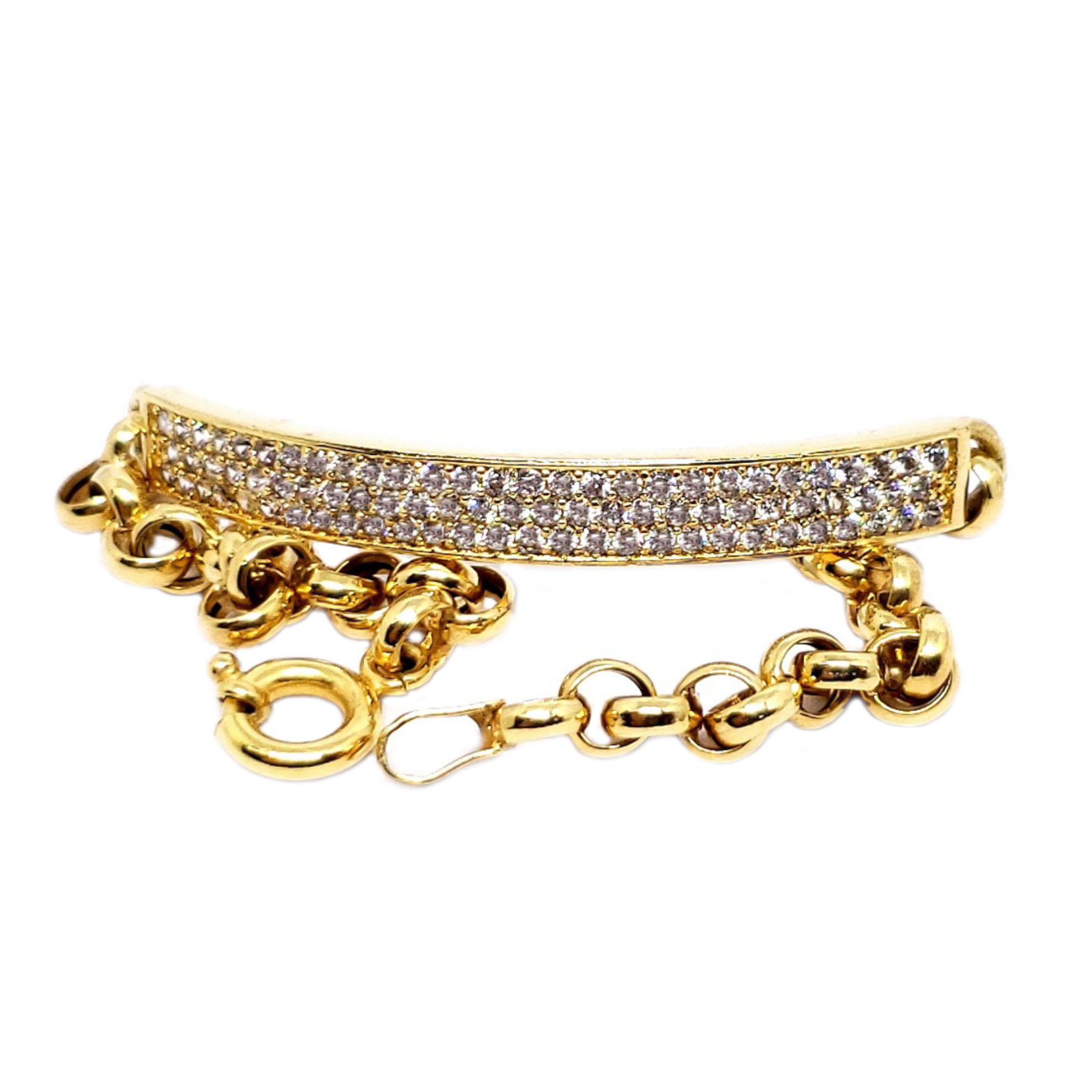 Bracelete Pavê Infantil c/ Zircônias em Ouro 18 Kilates