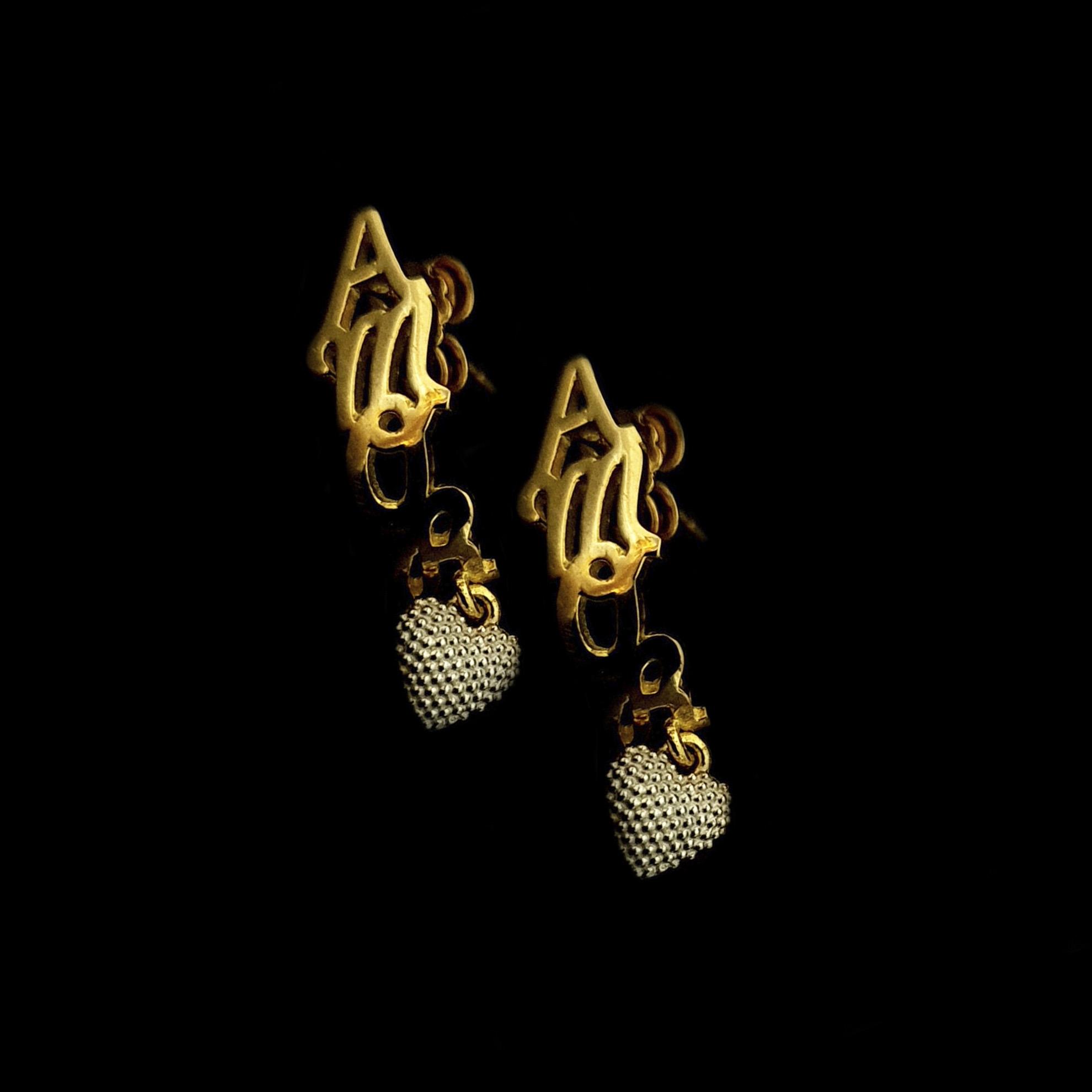 Brinco Amor c/ Coração em Ouro 18 Kilates