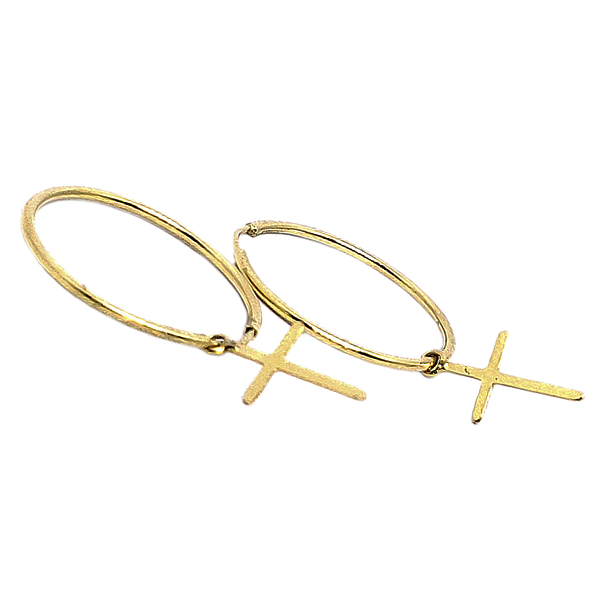 Brinco Argola c/ Cruz Pendurada em Ouro 18 Kilates
