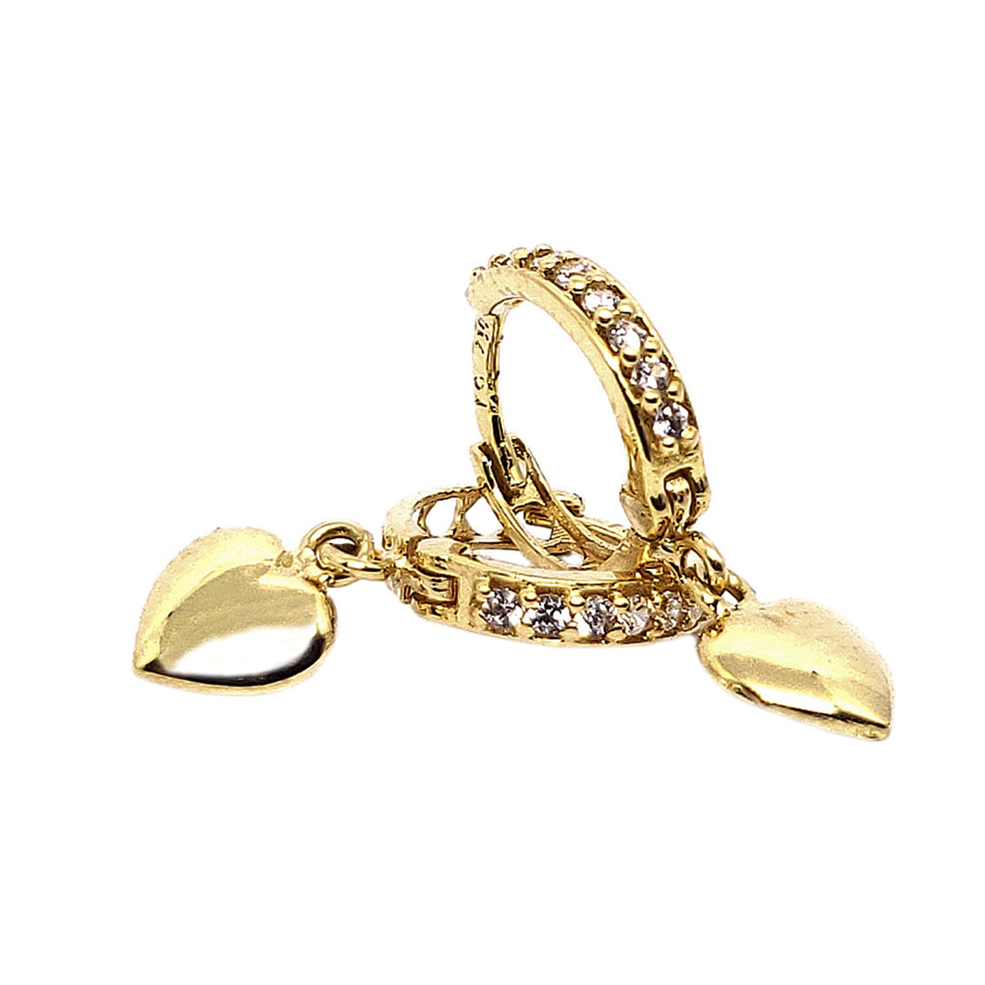 Brinco Argolinha Coração c/ Zircônias em Ouro 18 Kilates
