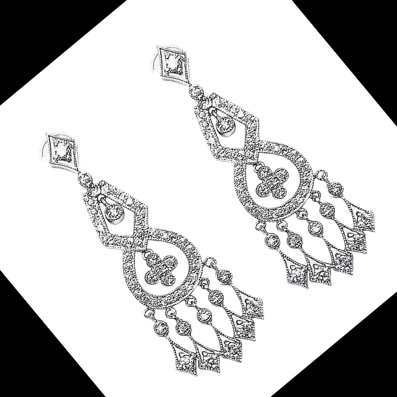 Brinco c/ Diamantes Losangos em Ouro 18 Kilates