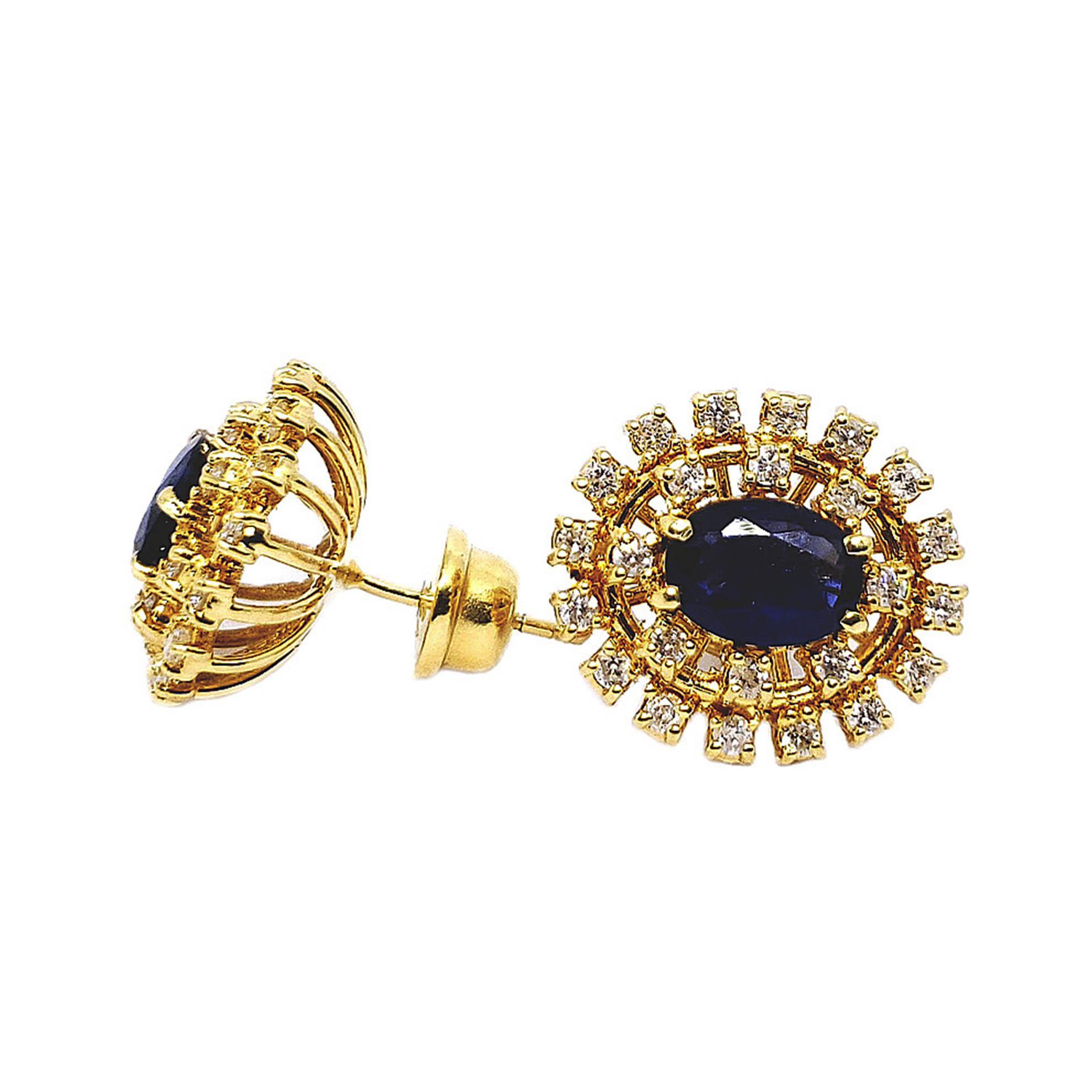 Brinco Chuveiro Oval c/ Diamantes e Safiras em Ouro 18 Kilates