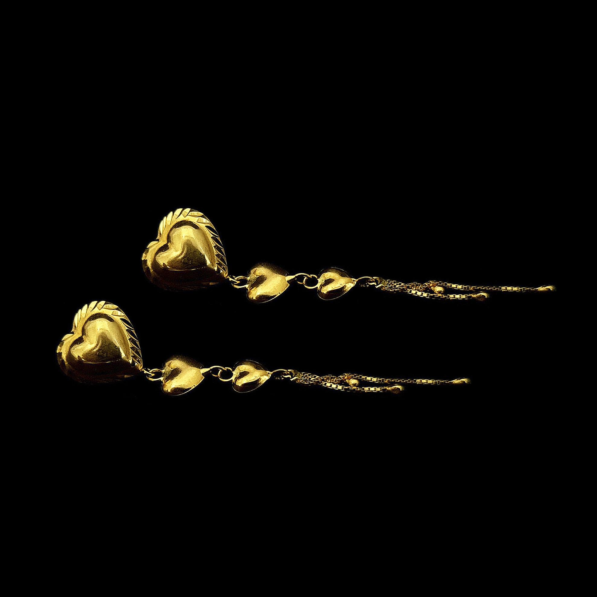 Brinco Coração c/ Franja em Ouro 18 Kilates