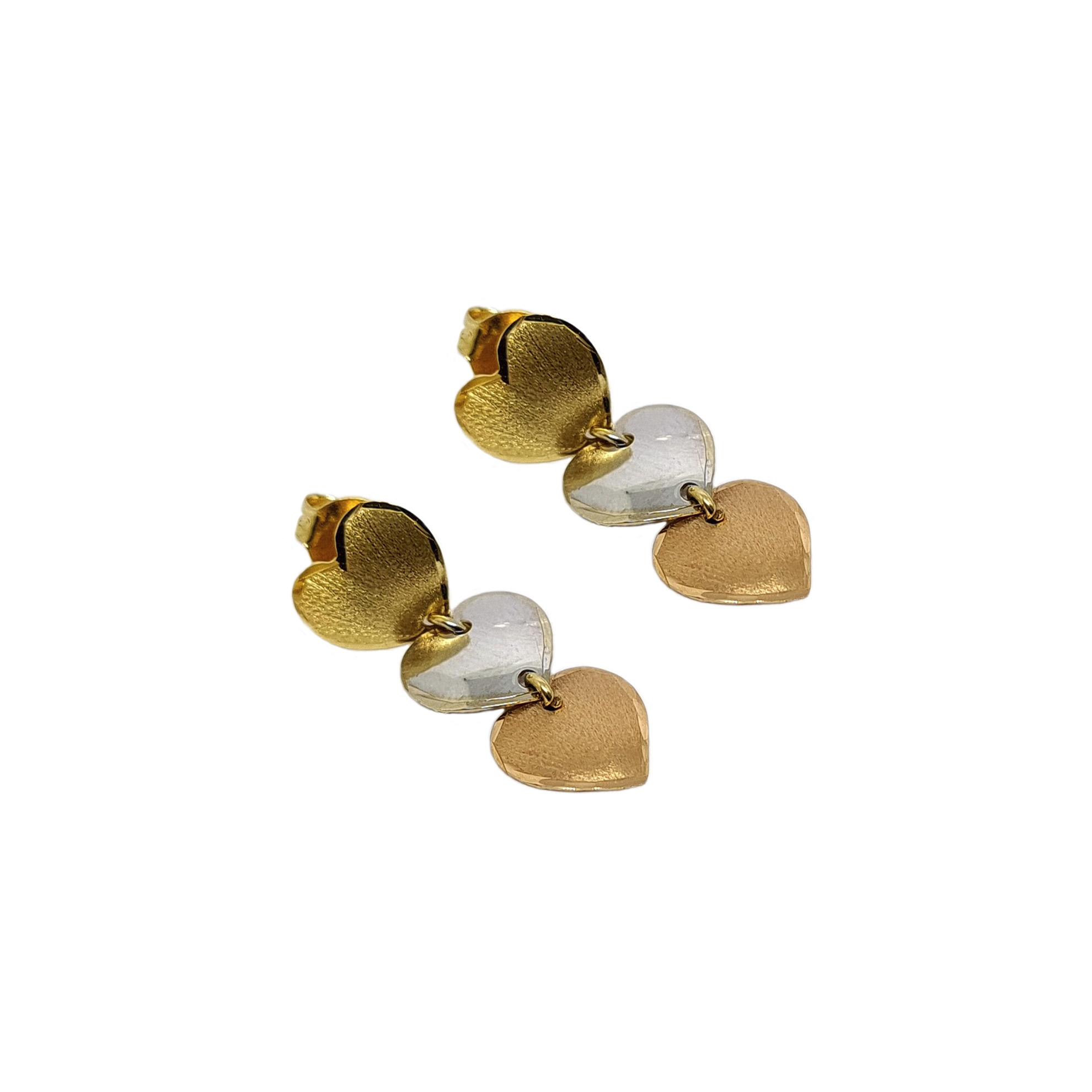 Brinco Três Corações Tricolor em Ouro 18 Kilates