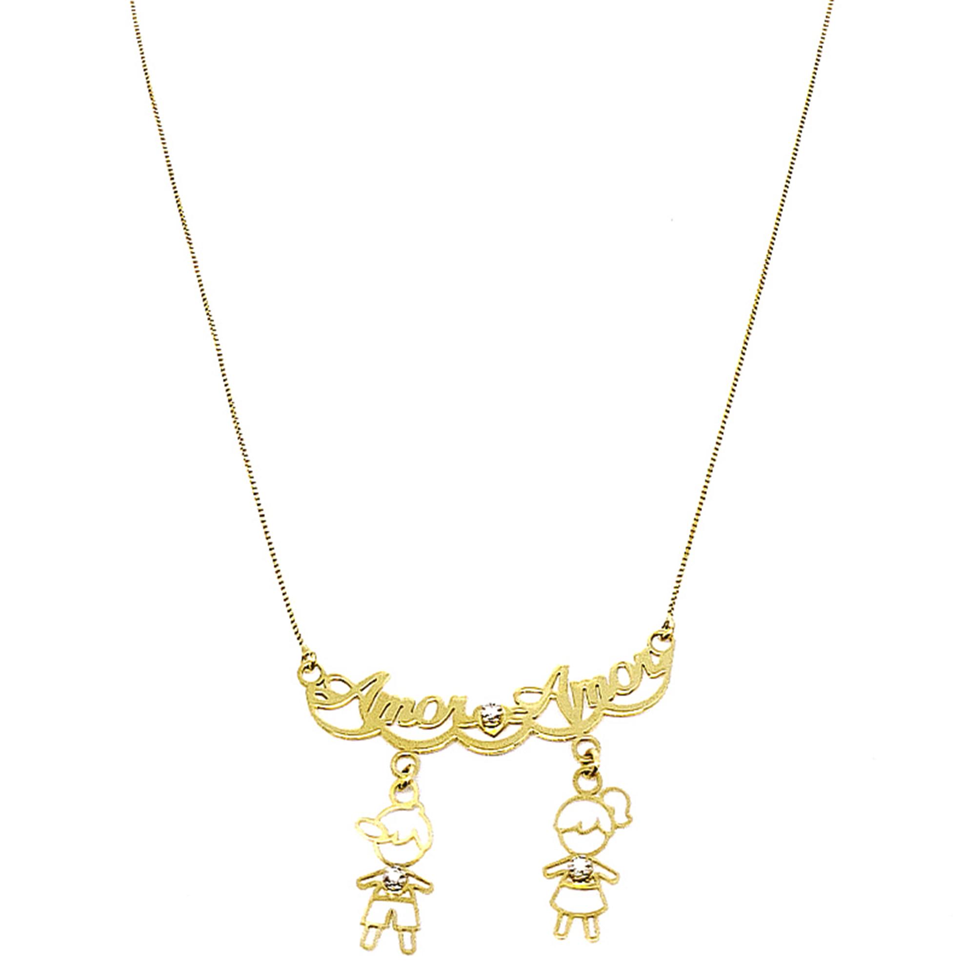 Gargantilha Amor c/ Casal Pendurado em Ouro 18 Kilates