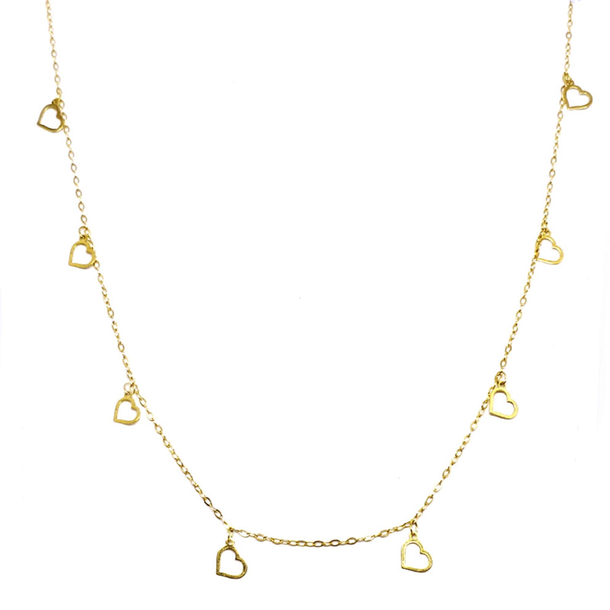 Gargantilha c/ Pingentes Coração em Ouro 18 Kilates