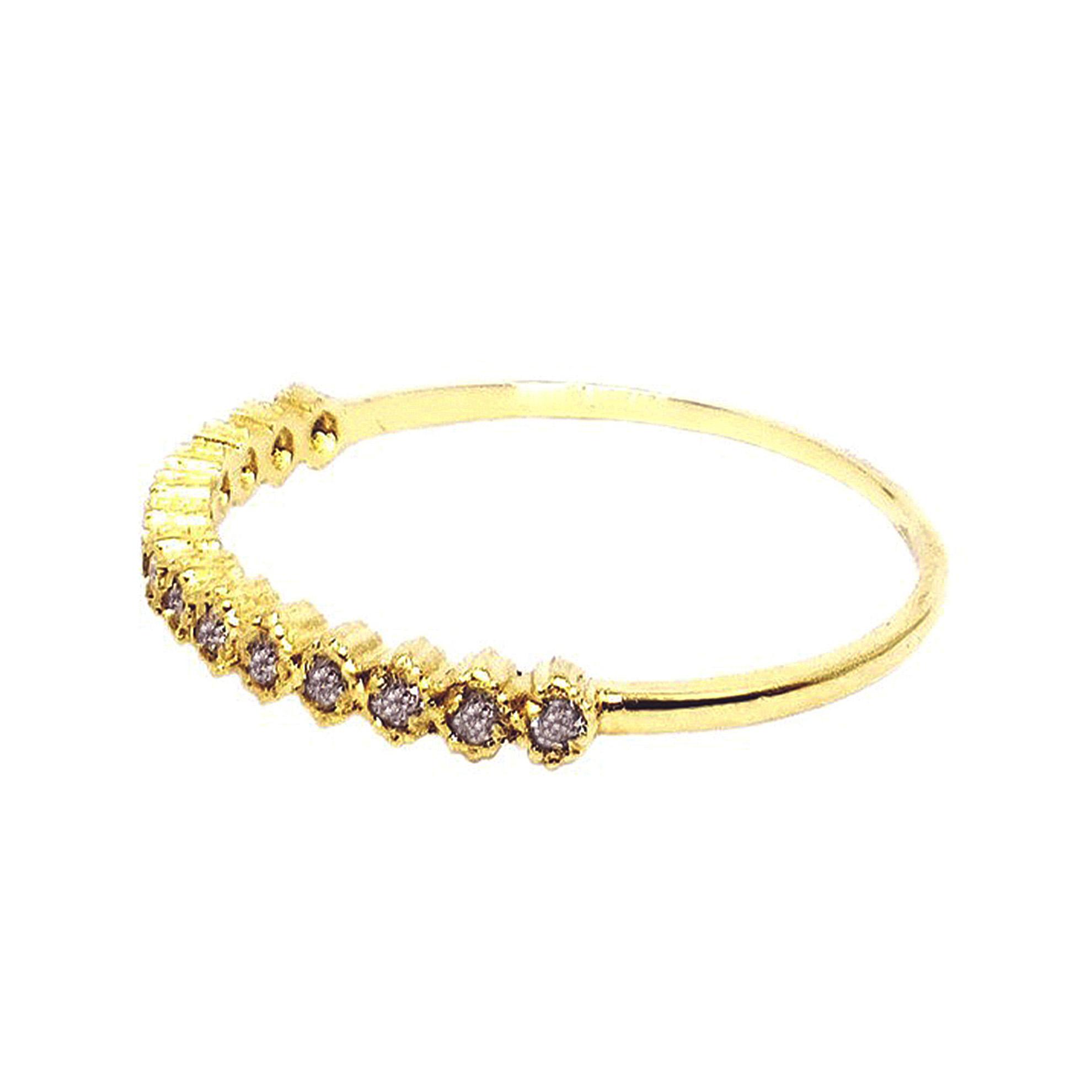 Meia Aliança c/ Diamantes em Ouro 18 Kilates