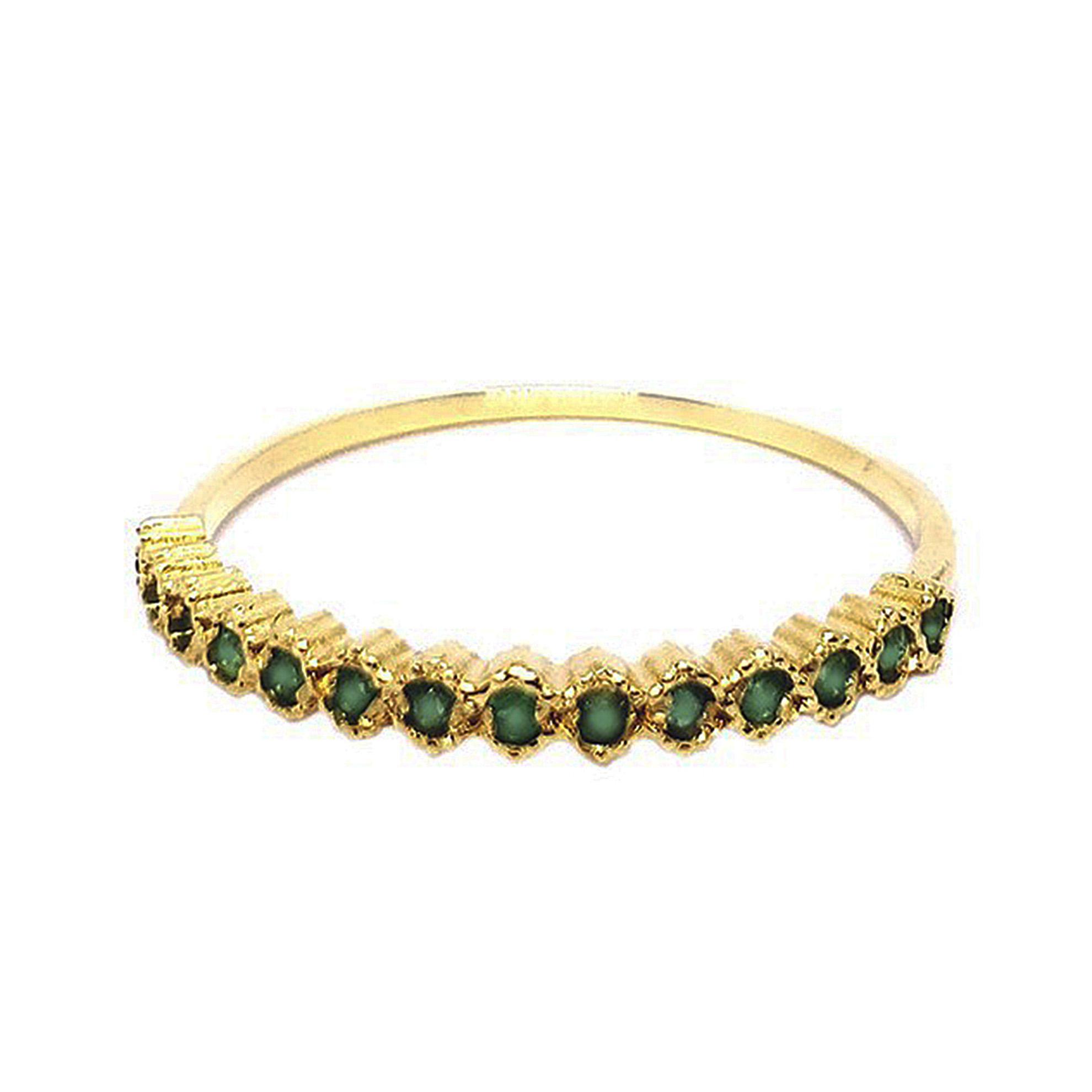 Meia Aliança c/ Esmeraldas em Ouro 18 Kilates