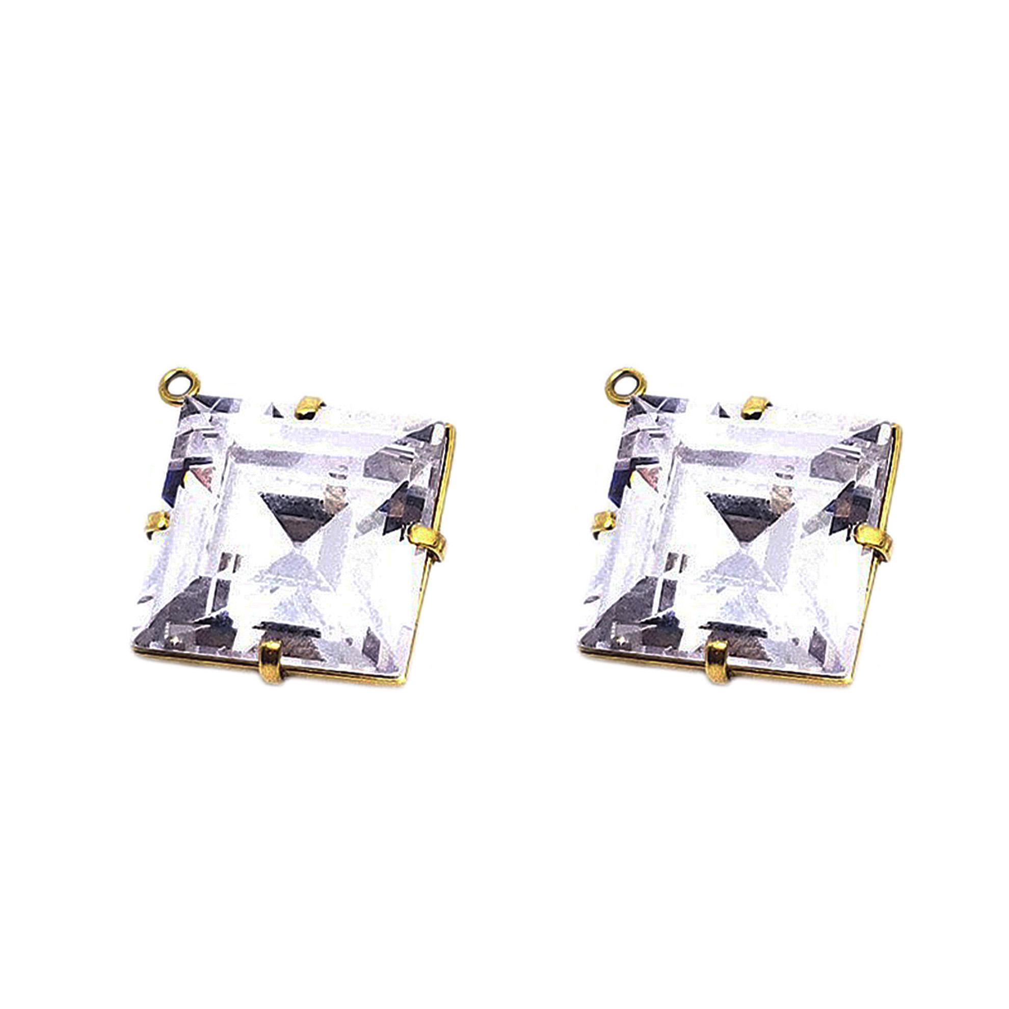 Par de Aplique Cristal Quadrado em Ouro 18 Kilates