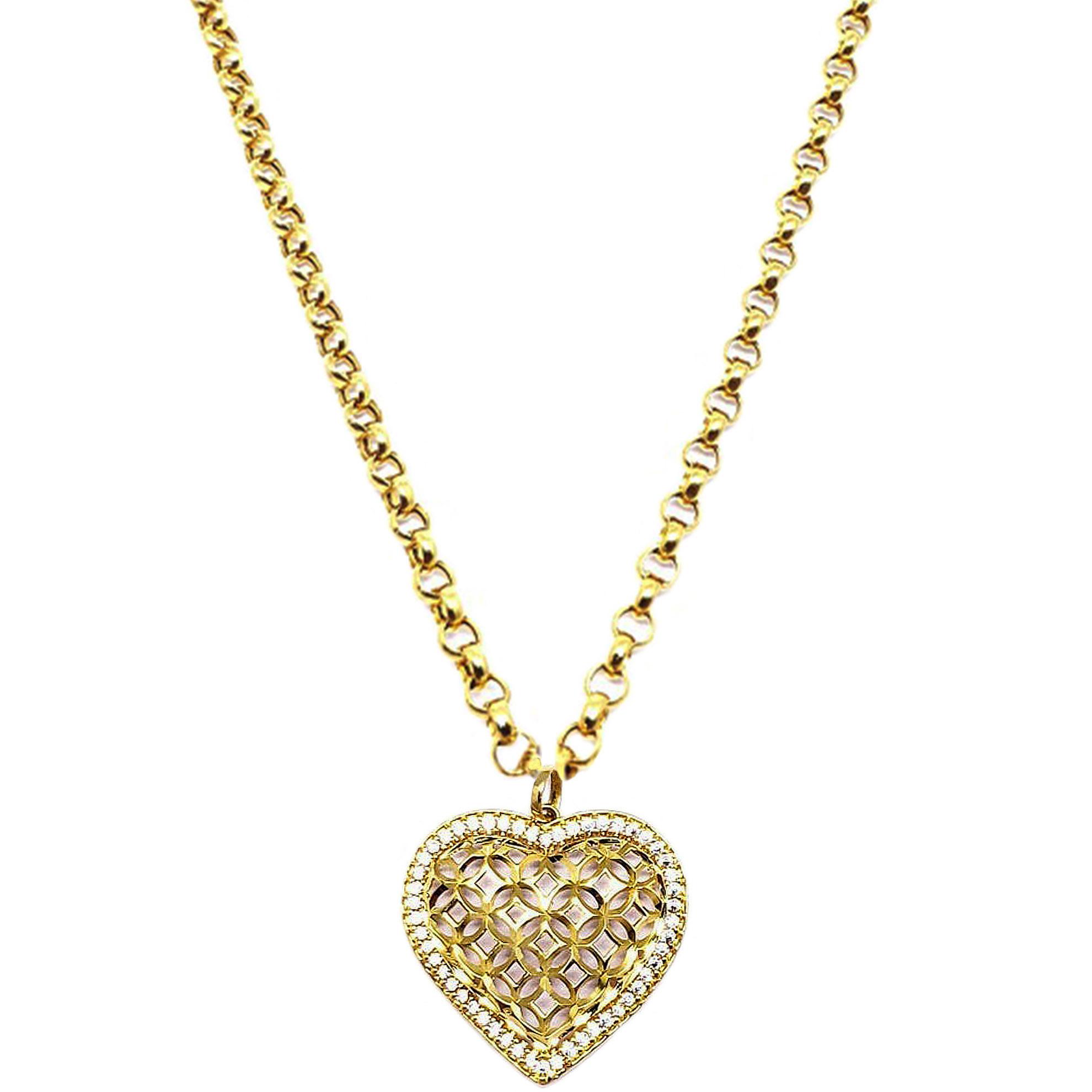 Pingente Coração Vazado c/ Zircônias em Ouro 18 Kilates